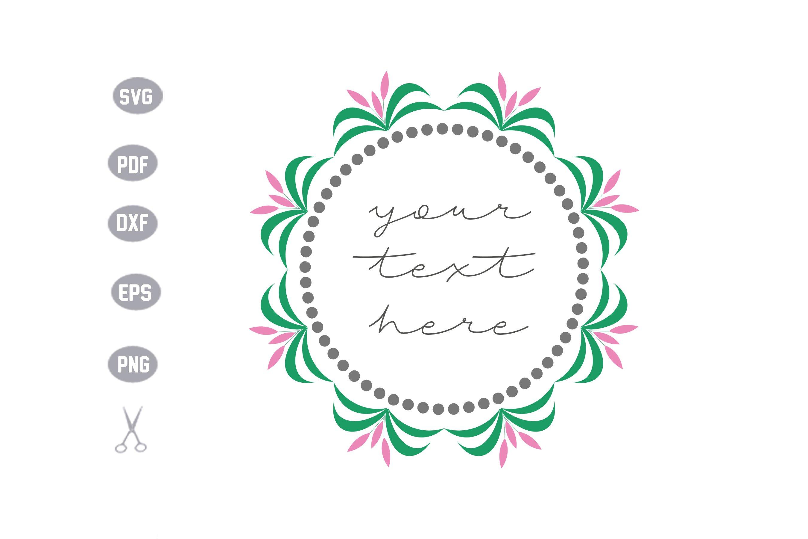 Flower Frame Monogram SVG example image 1
