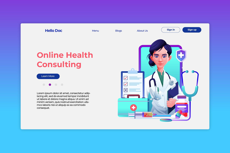 Online Doctor - Hero Header & Landing Page example image 1