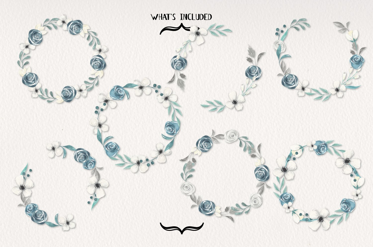 Navy & White 7 Wreaths Watercolor Blooms Garlands Florals example image 2