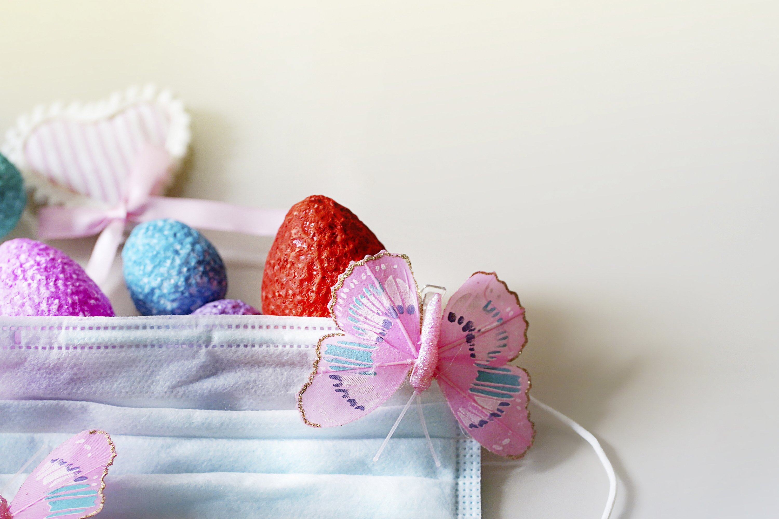 Creative Easter composition of coloful eggs example image 1