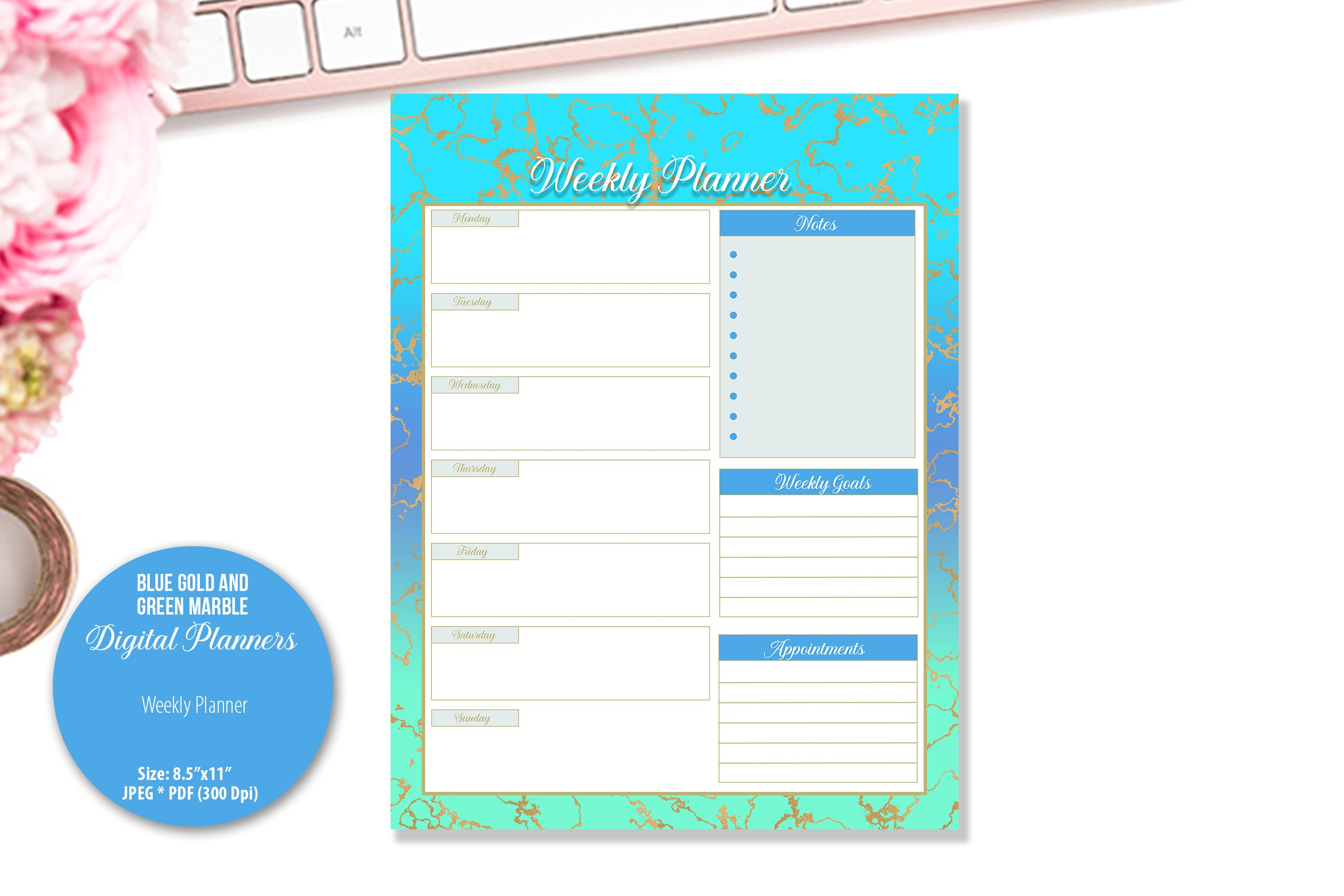 Blue Gold and Green Marble Digital Planner example image 3