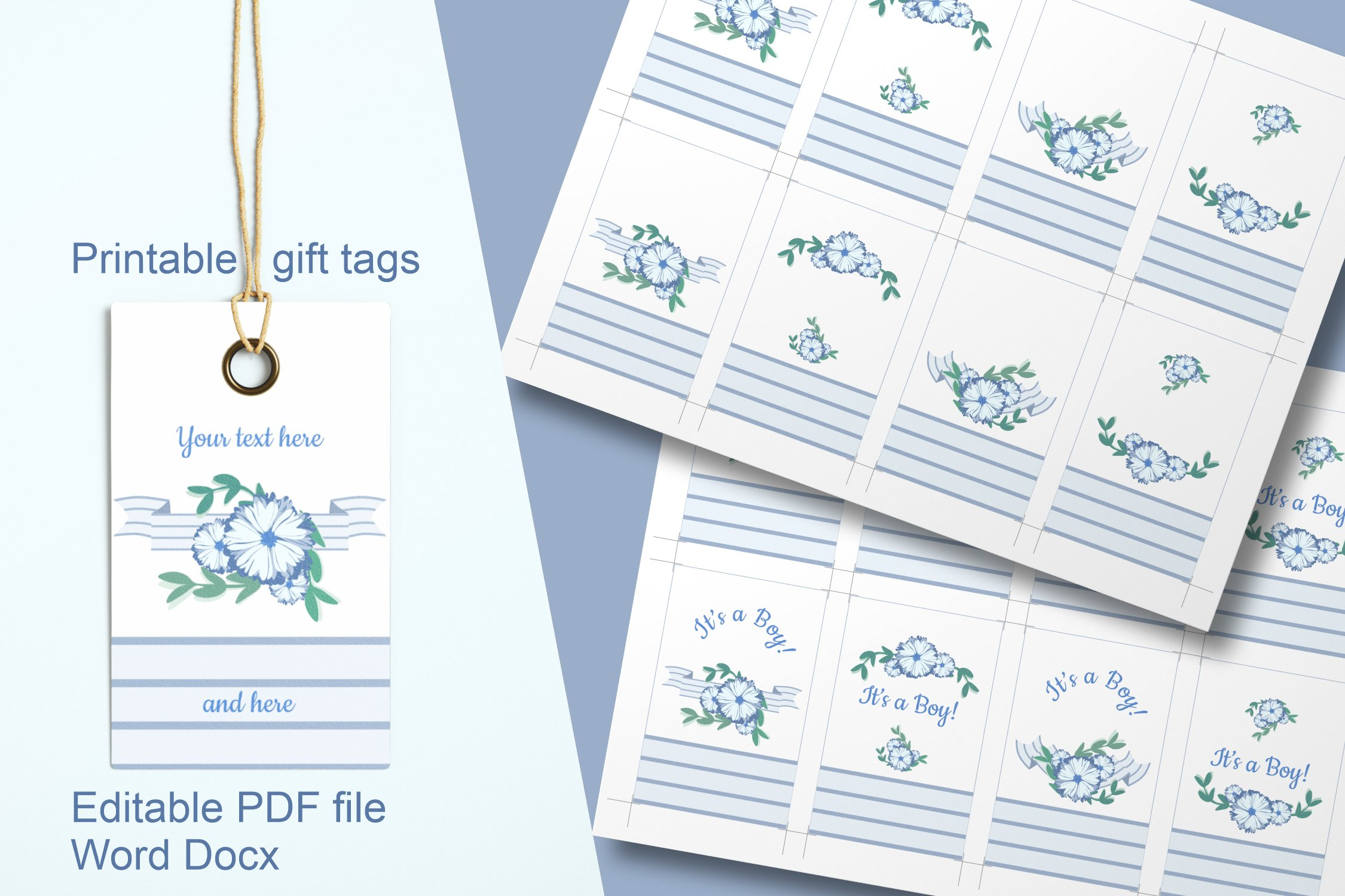 Blue Baby Shower Floral Gift Tags Editable PDF Word Template example image 2