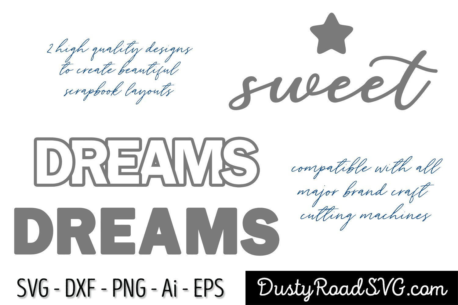 sweet dreams - Scrapbook - cut file - svg png eps dxf example image 2