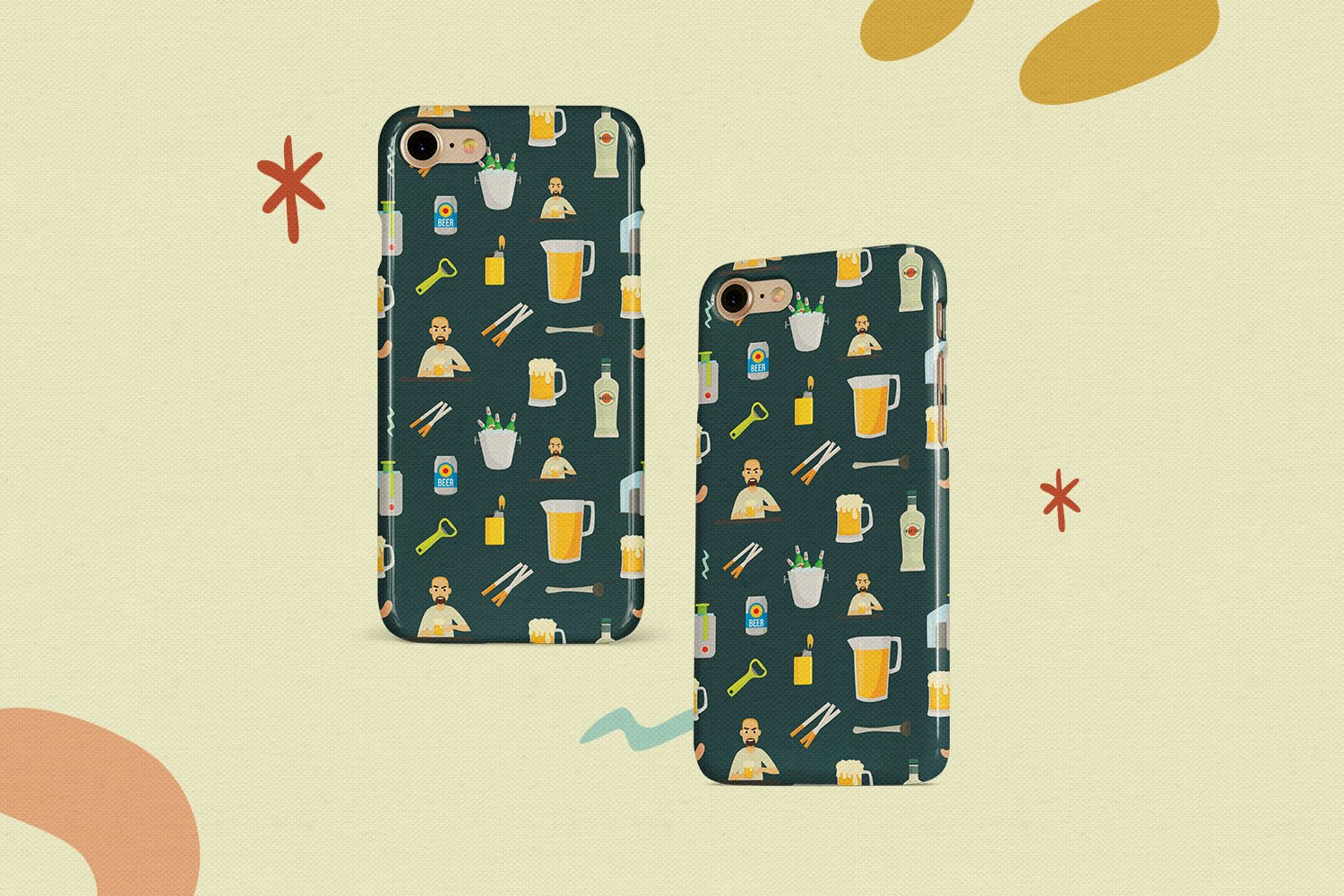 Night Bar Vector Clipart and Seamless Pattern example image 5