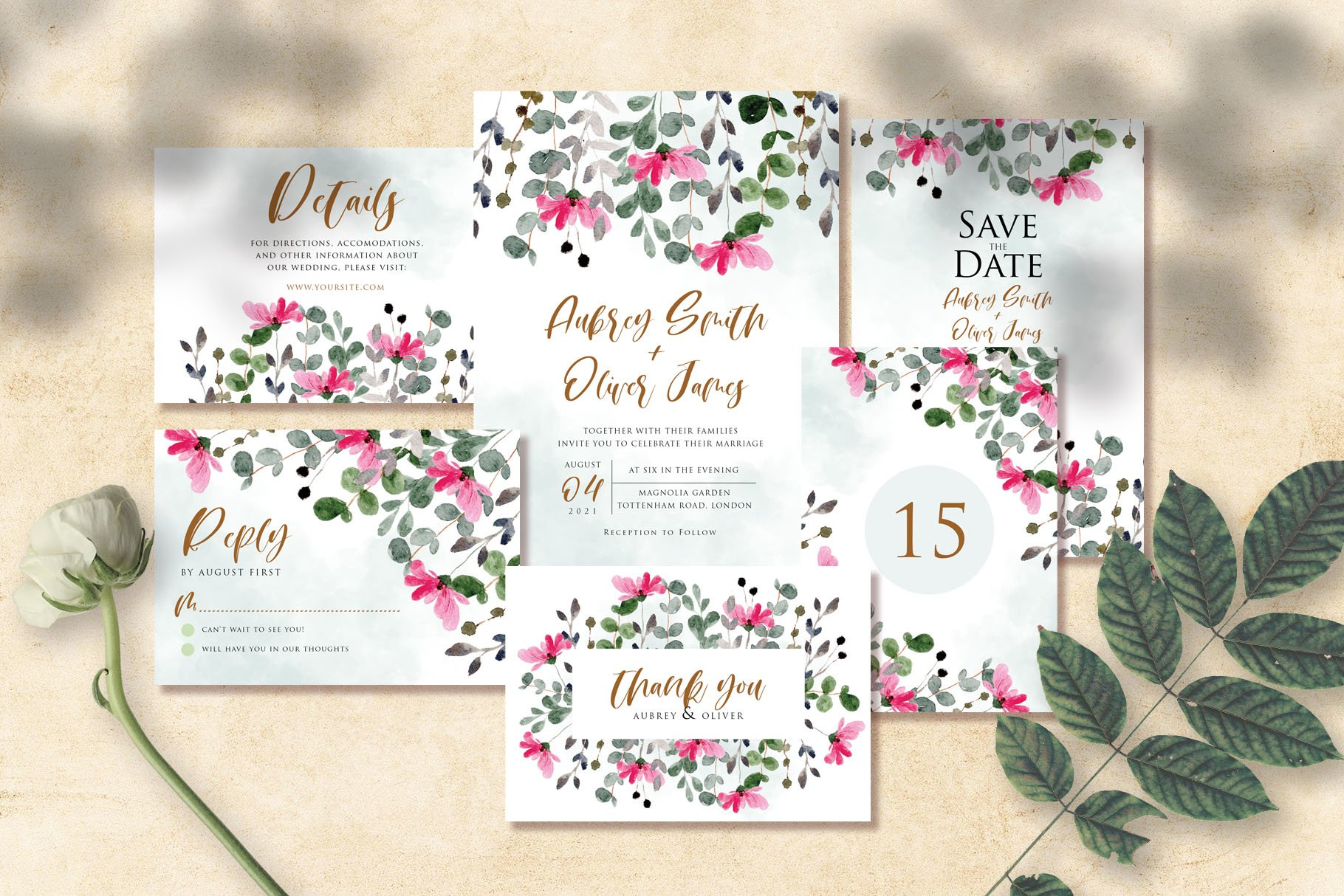 Flower and Leaves Watercolor Wedding Invitation Suite example image 1