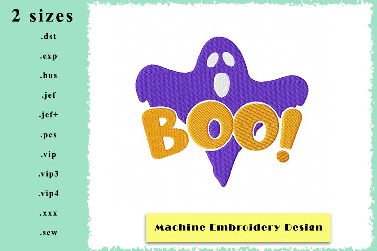 Ghostly Boo Machine Embroidery Design in 2 sizes example image 1