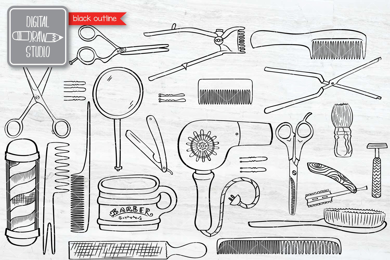 Hand Drawn Vintage Barber Shop Doodles   Esp Png Svg Dxf Jpg example image 2