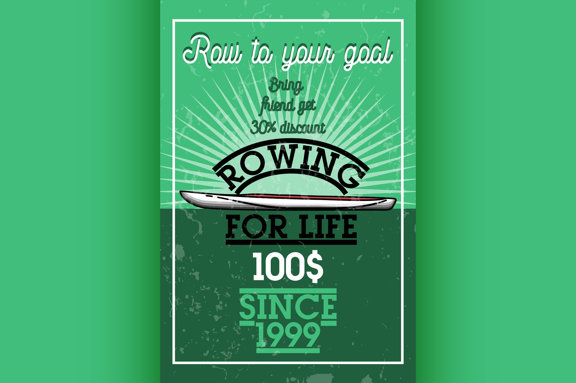 Color vintage rowing banner example image 1