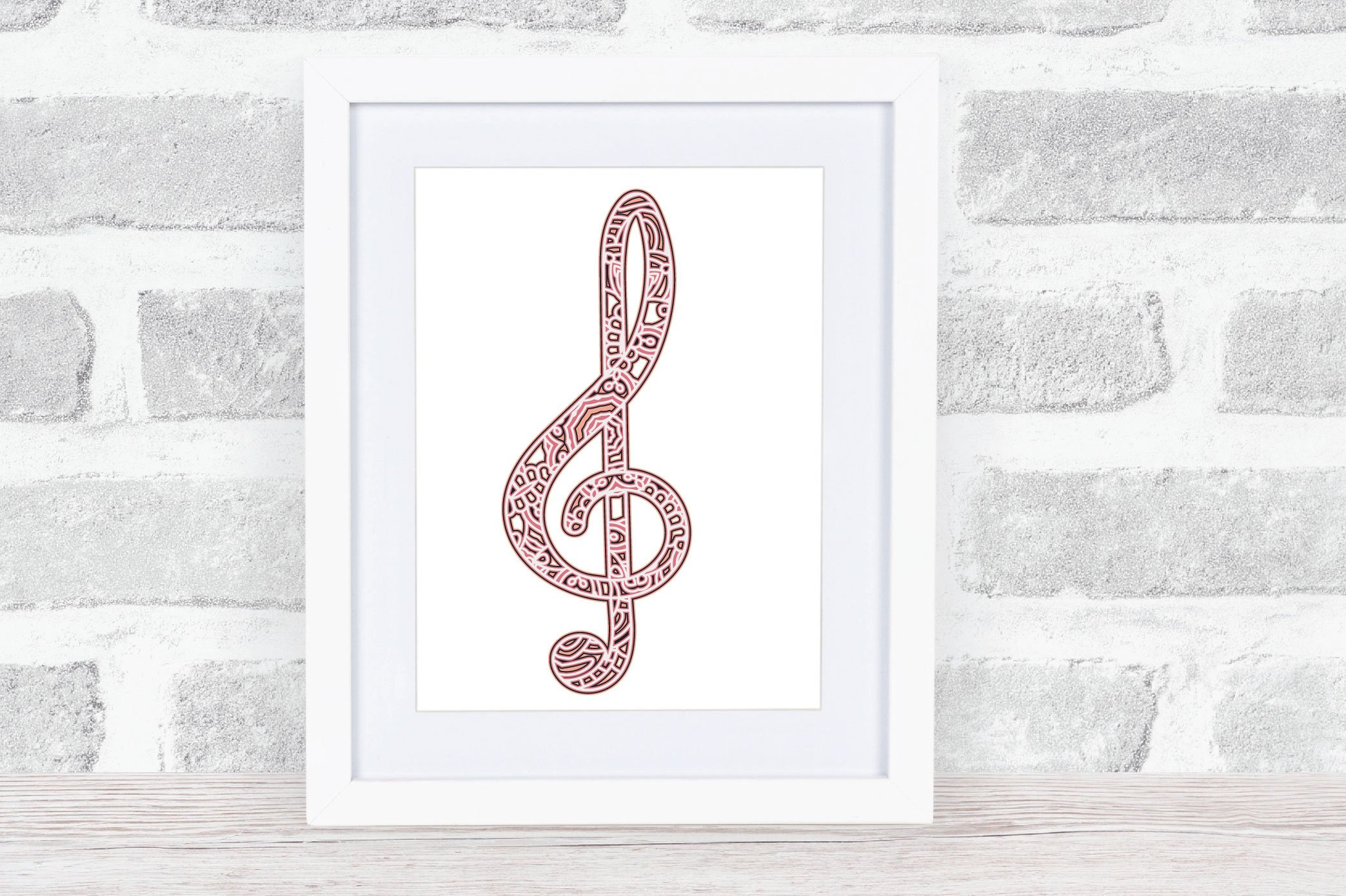 3d Layered Treble Clef SVG | Multi Layer Music SVG Cut File example image 2