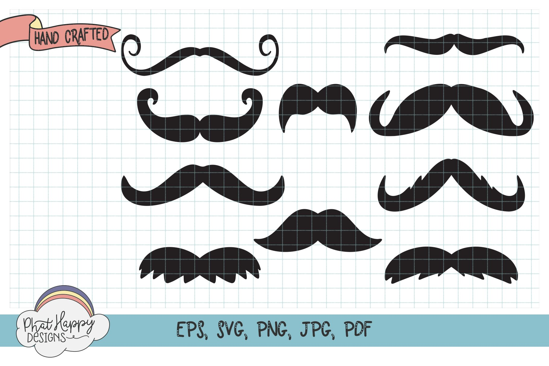 10 Funny Mustaches for Masks - SVG Cut Files example image 2