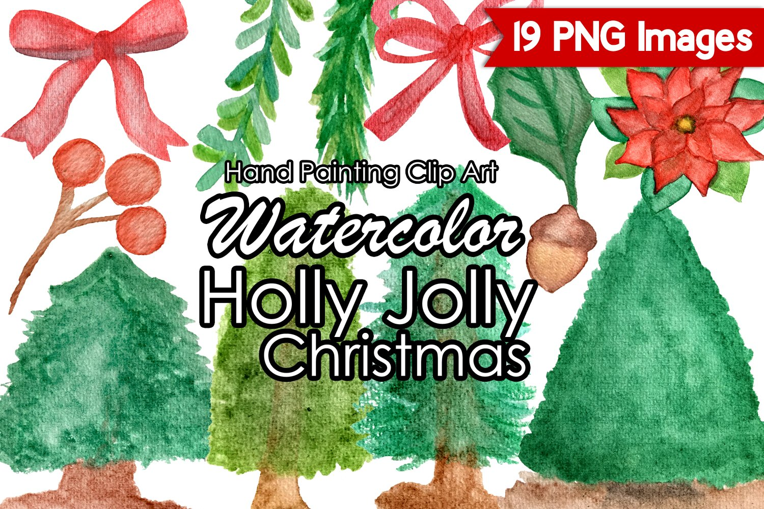 watercolor christmas clipart holly jolly christmas clip art 403765 patterns design bundles watercolor christmas clipart holly jolly christmas clip art