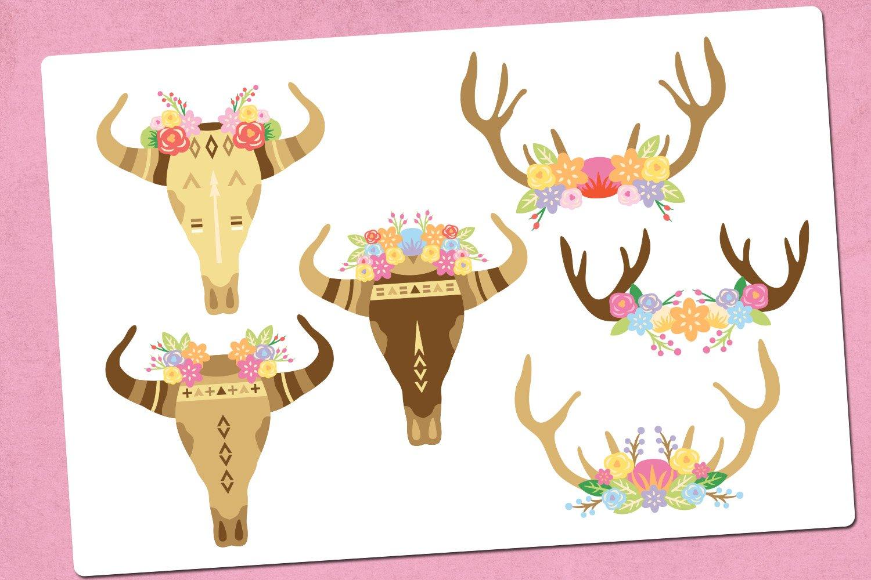Boho skull illustration clip art example image 2