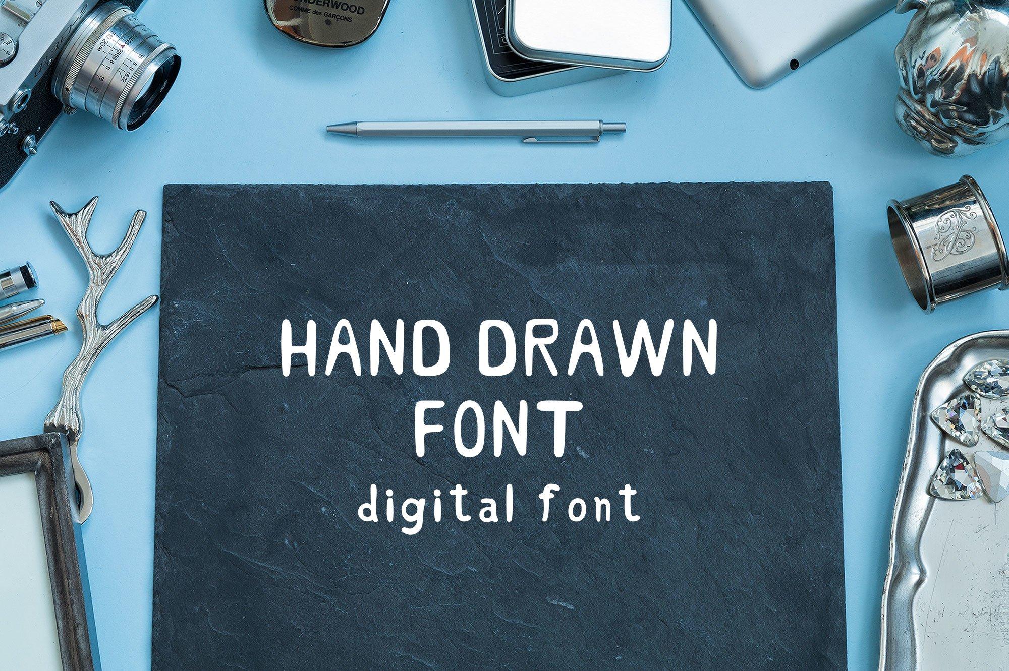 Hand Drawn Font. Handwritten Font. Digital Font example image 1