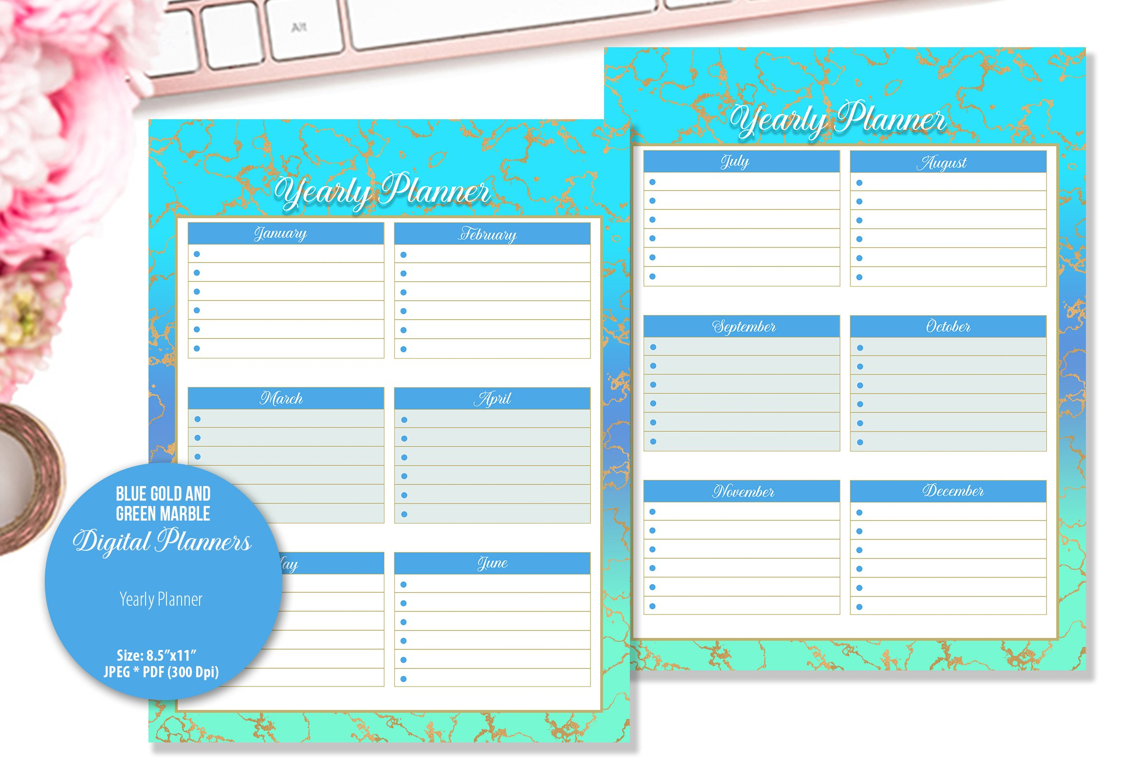Blue Gold and Green Marble Digital Planner example image 5