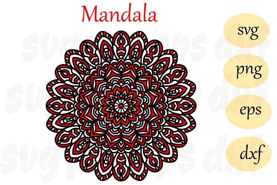 Mandala SVG DXF EPS PNG, Mandala Drawing, Mandala SVG files example image 1