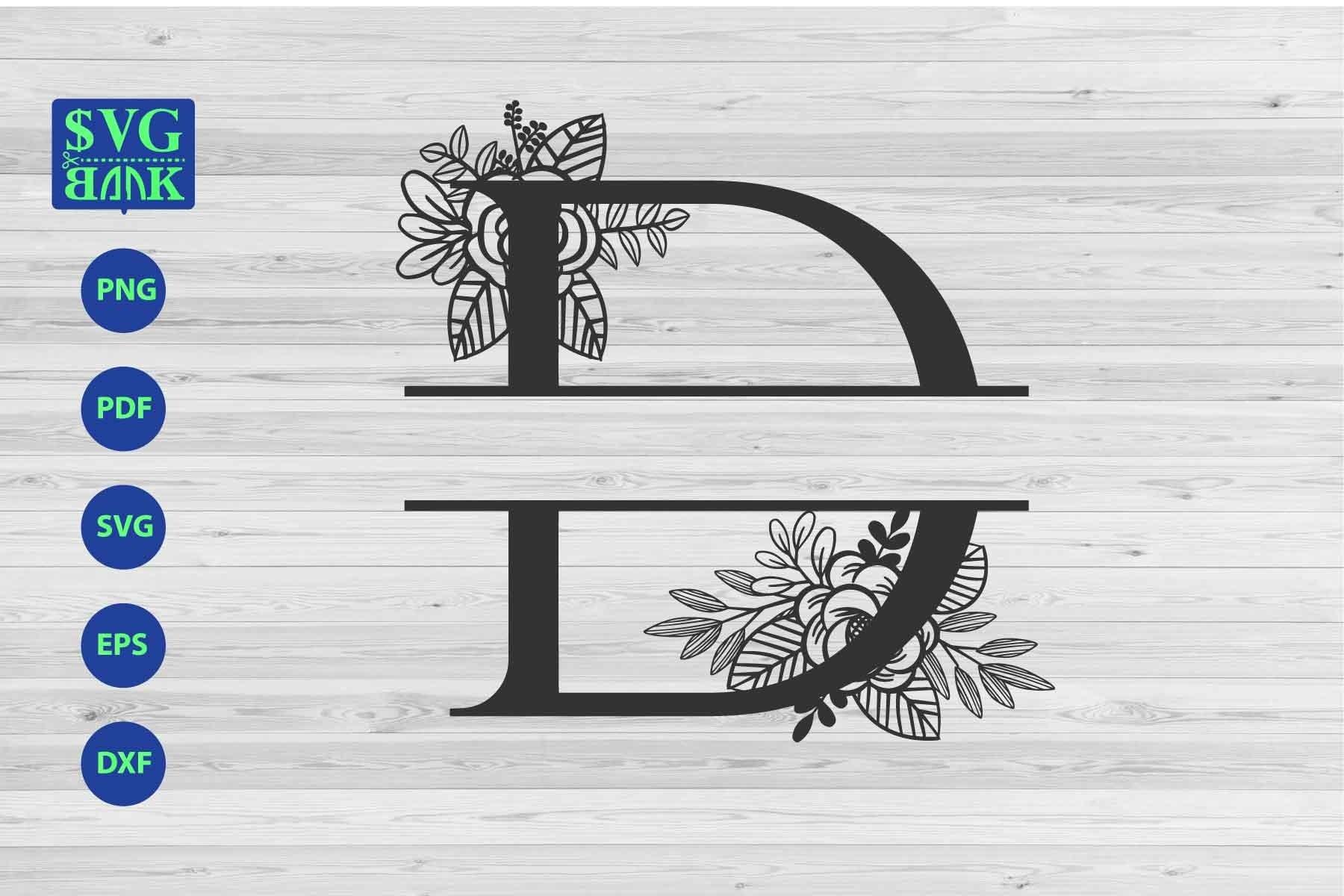 Download Split Monogram Letter D Svg Alphabet Floral Initial Logo D 470959 Cut Files Design Bundles