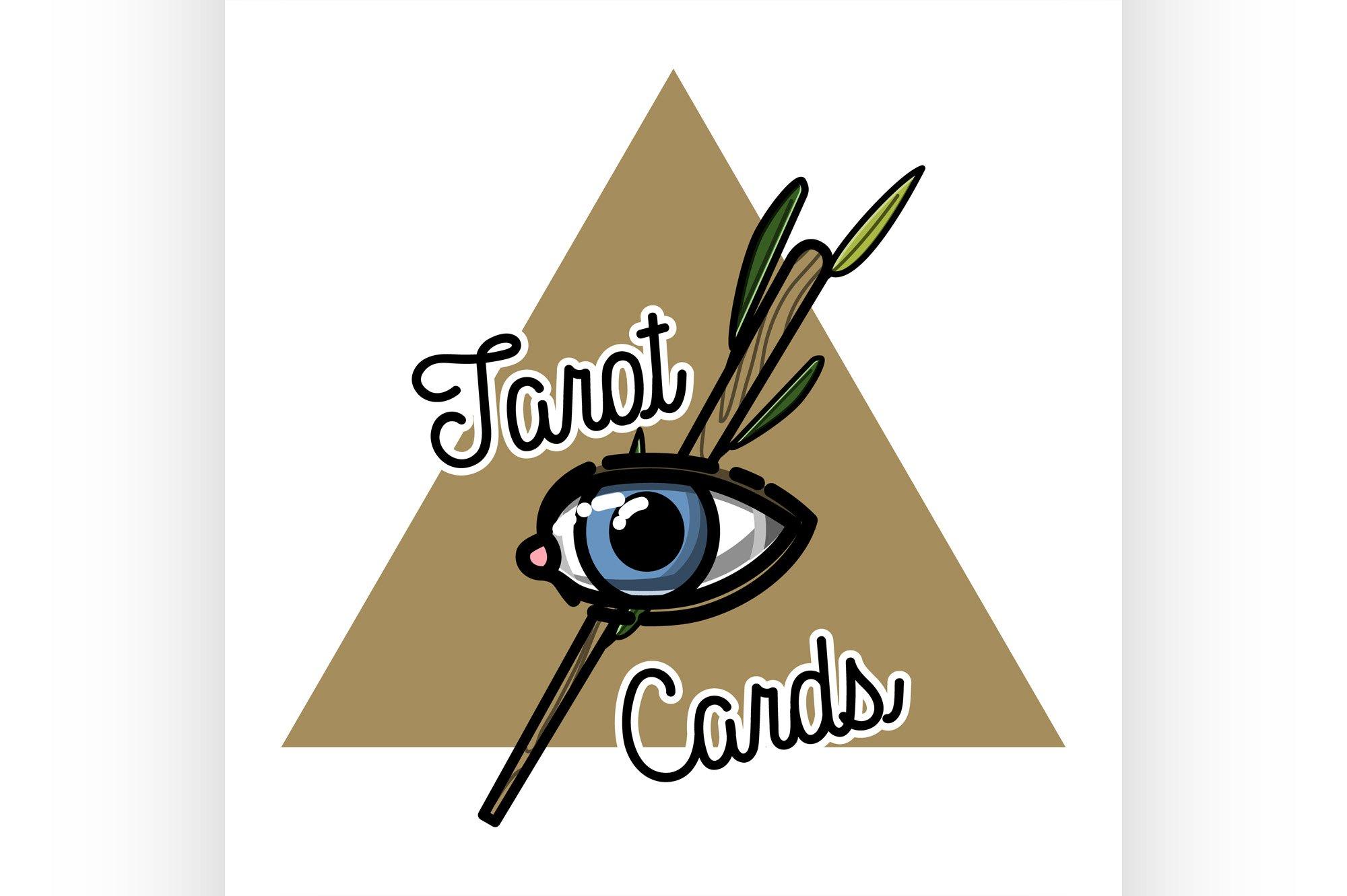 Color vintage tarot cards emblem example image 1