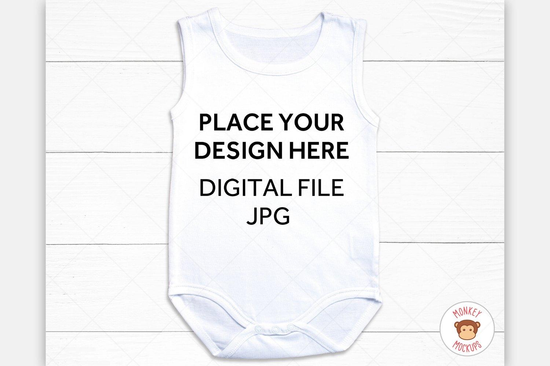 Baby Bodysuit Mockup - White One Piece Mock-Up Image example image 1