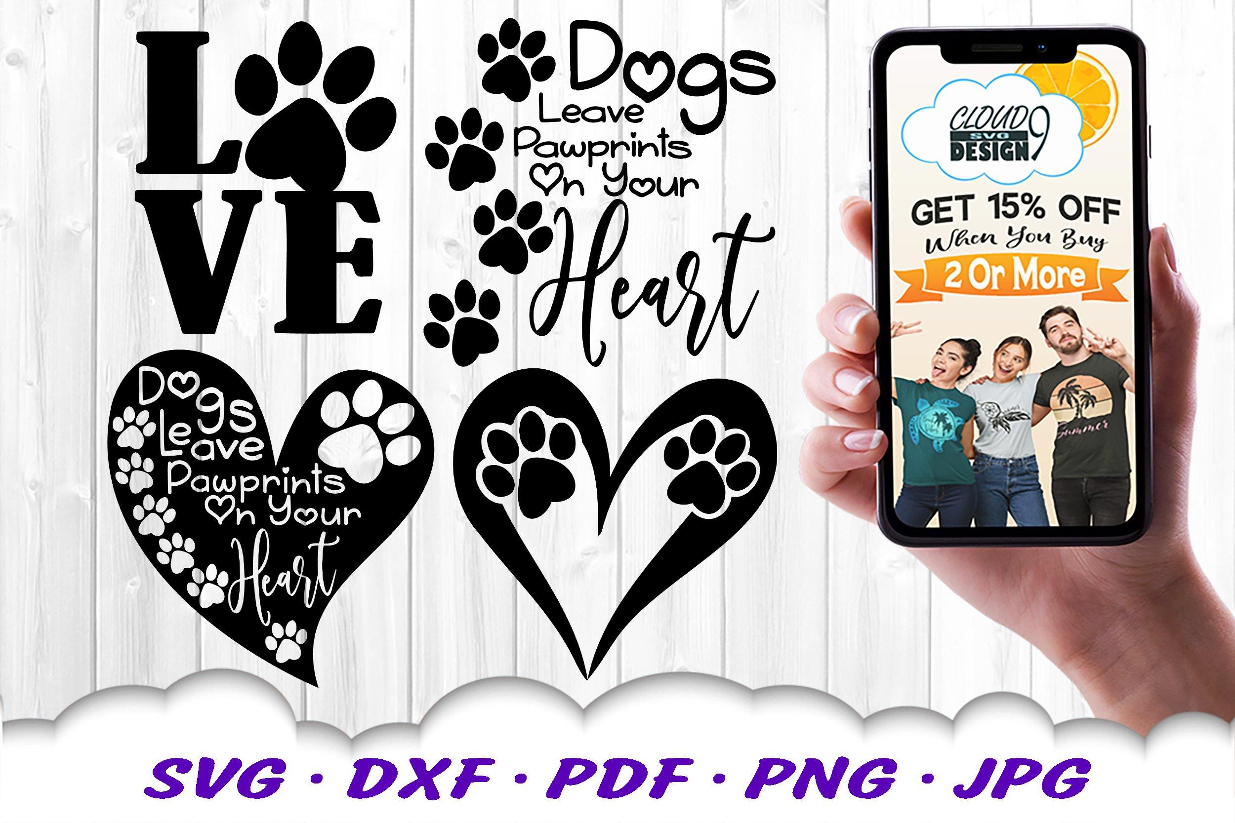 Dog Mom Paw Print Bundle SVG DXF Cut Files example image 3