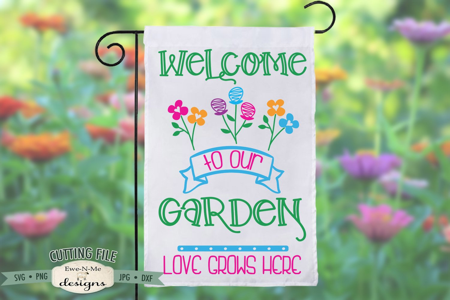 Garden Flag file Love grows here Commercial Use Digital Design Spring SVG dxf File for Cutting Machines like Silhouette Cameo and Cricut