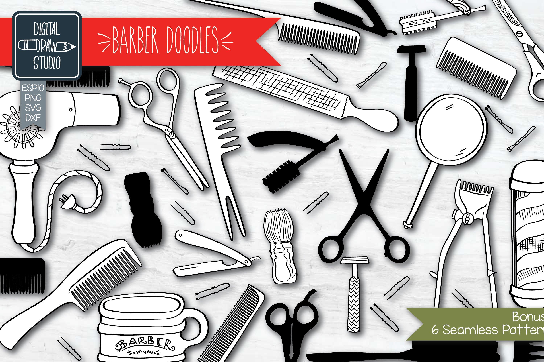 Hand Drawn Vintage Barber Shop Doodles   Esp Png Svg Dxf Jpg example image 1