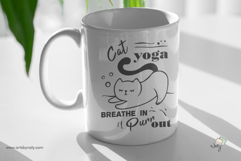 Cat yoga. Breathe in, Purr out. Funny SVG Illustration. example image 2