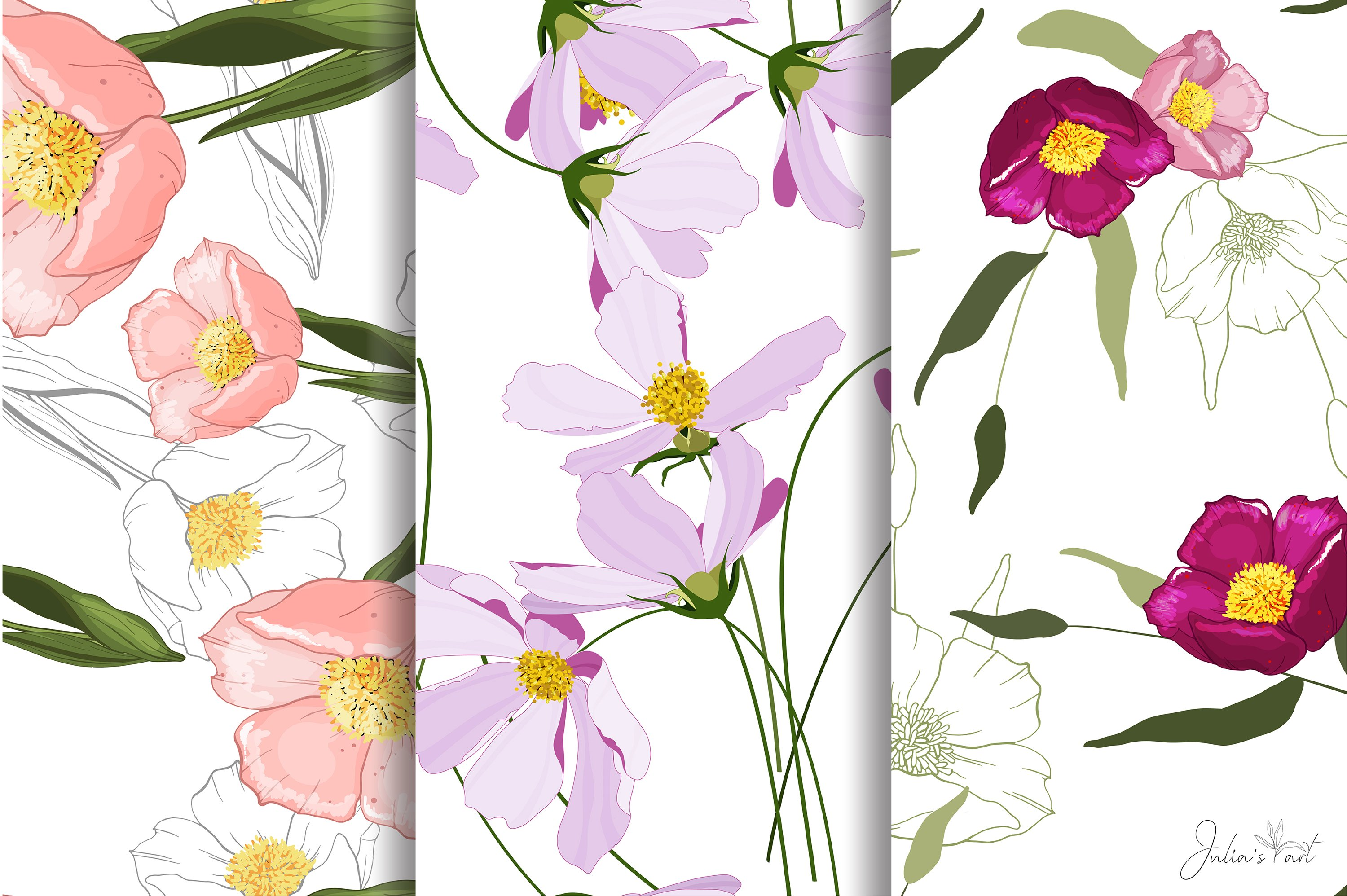 Pink flowers vector patterns - Ai, EPS, JPG, PNG example image 2