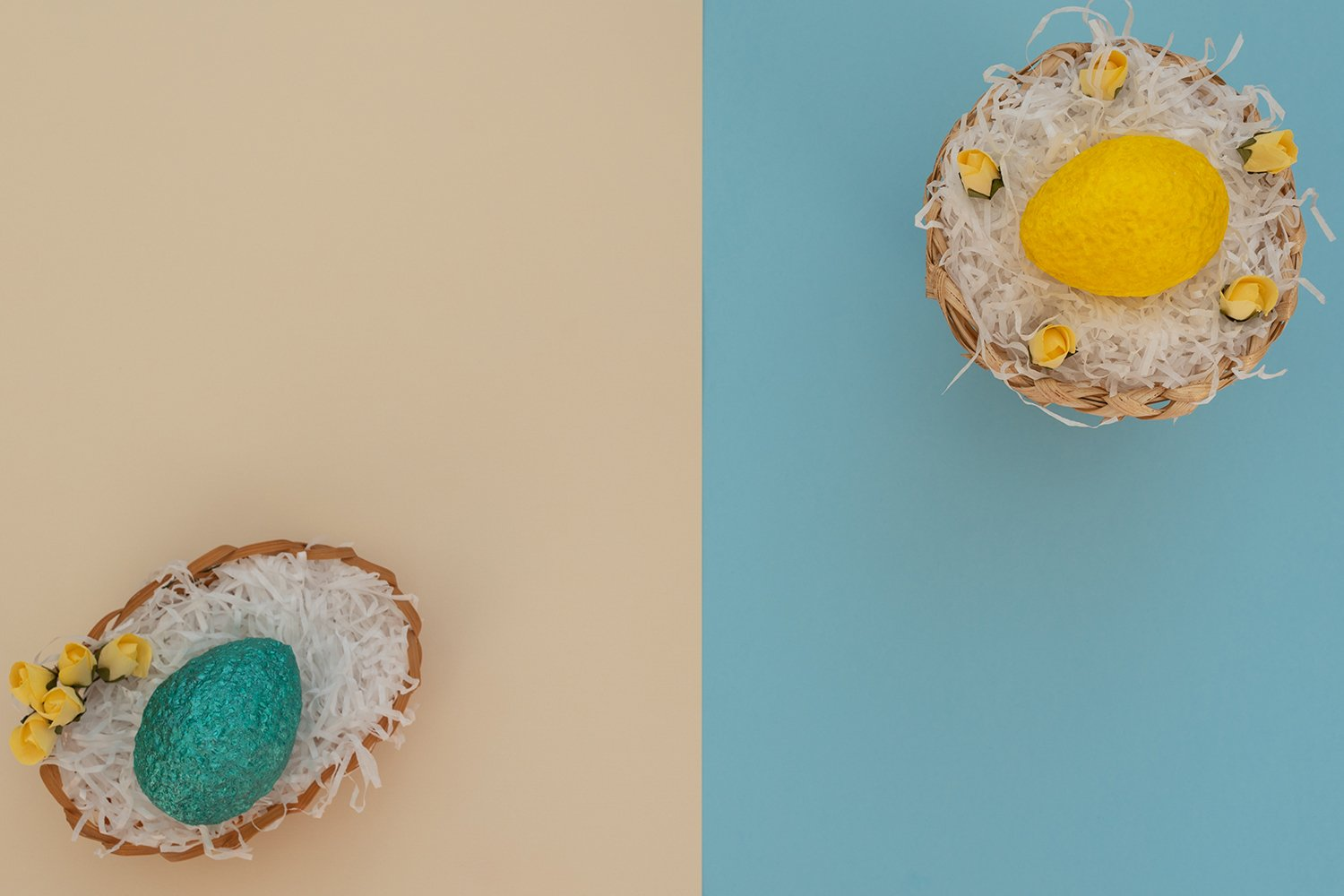 Colored yellow Easter egg in egg basket example image 1