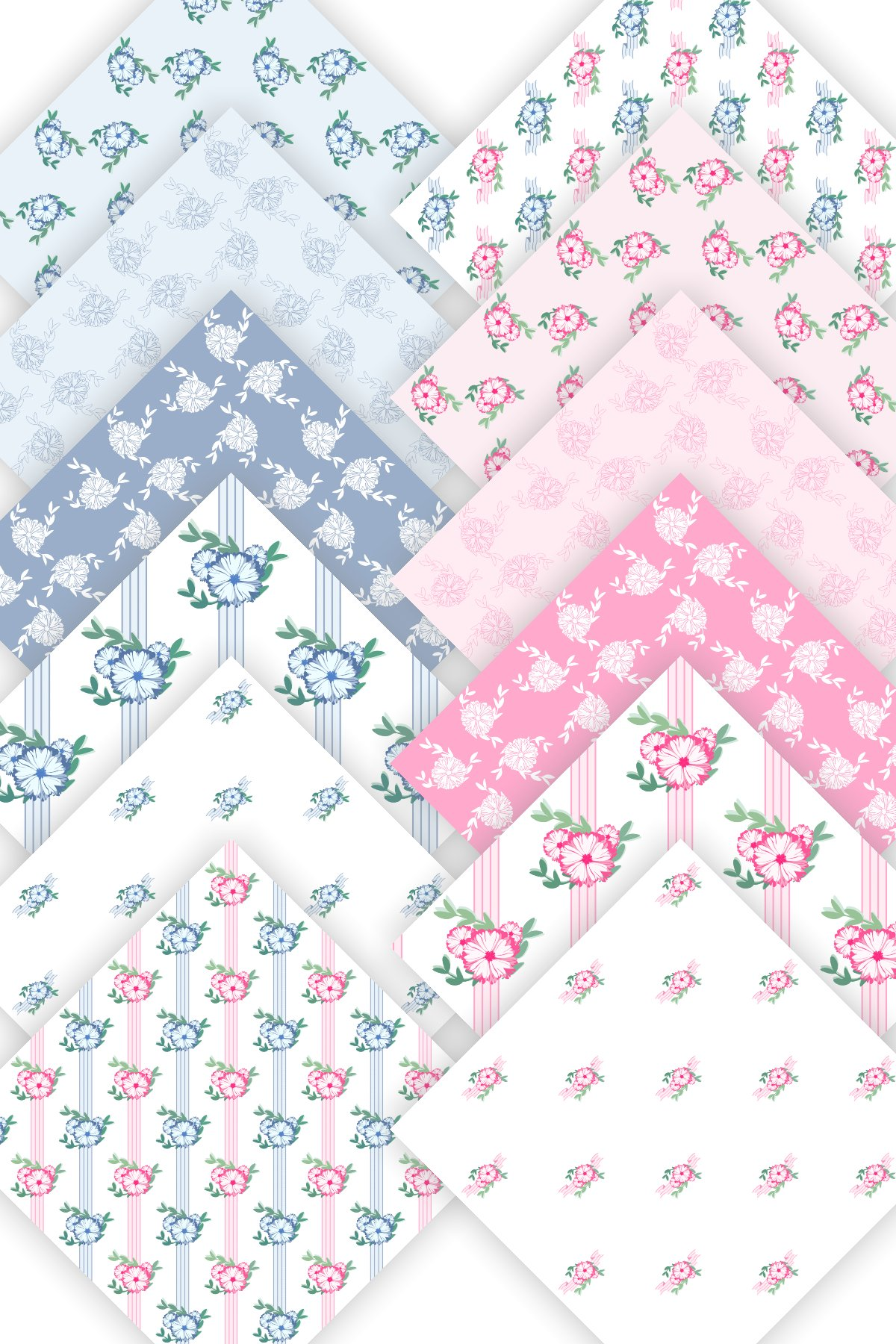 Baby Shower Floral Patterned Seamless Papers 12 PNG files example image 4