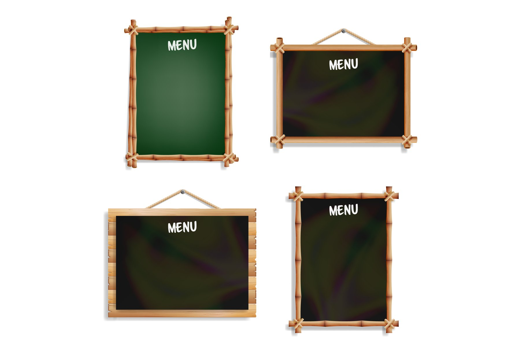 Restaurant Menu Boards Set. Isolated On White Background. example image 1