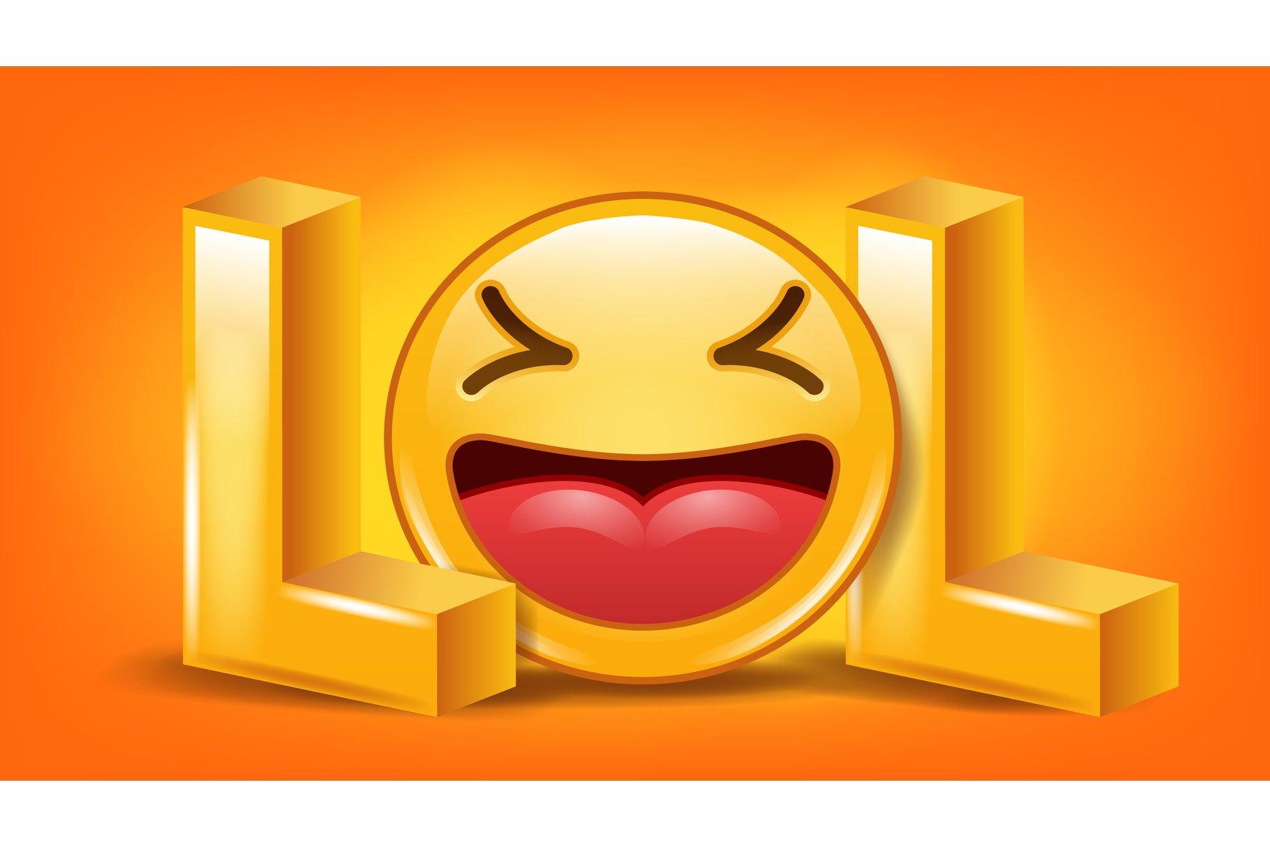 Lol Sign Vector. Fun Symbol. Emotion Smile. Facial example image 1