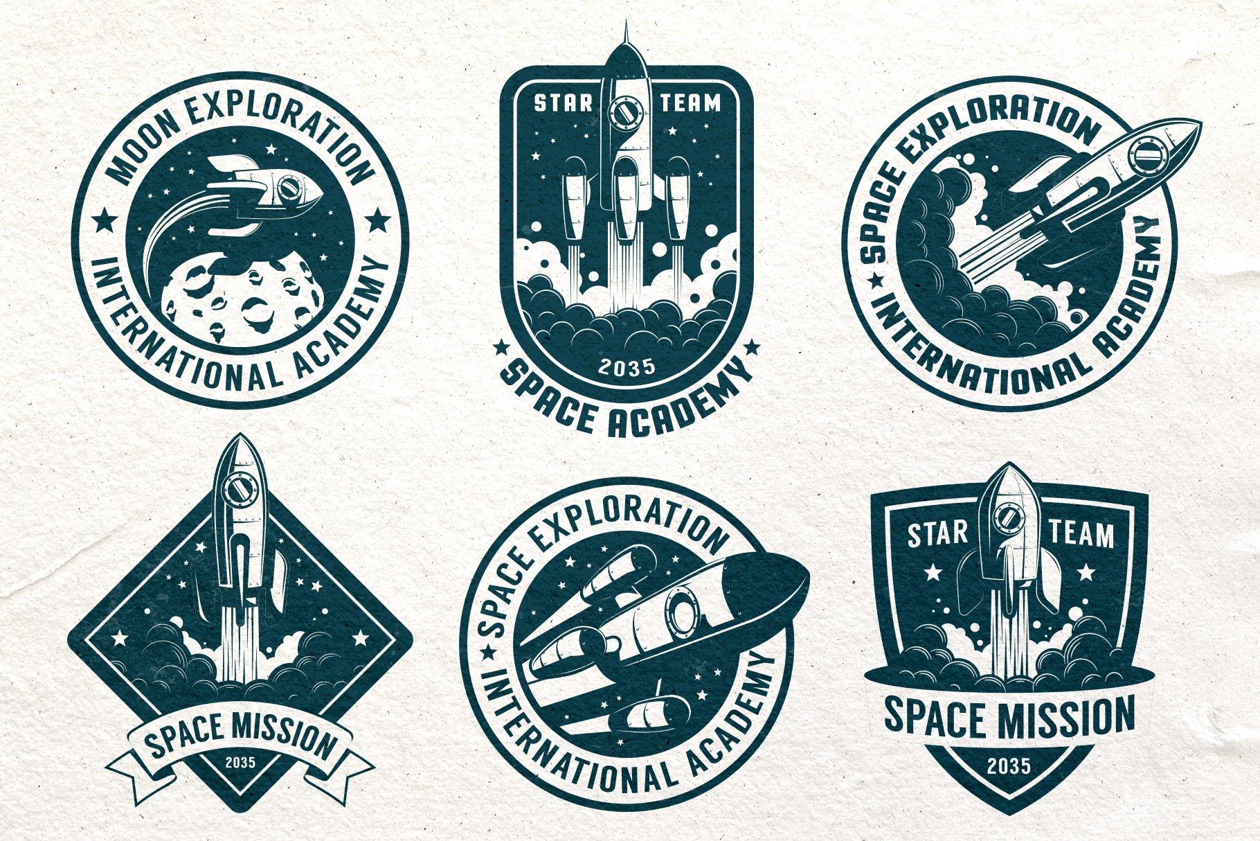 Space Rocket Retro Badge example image 2