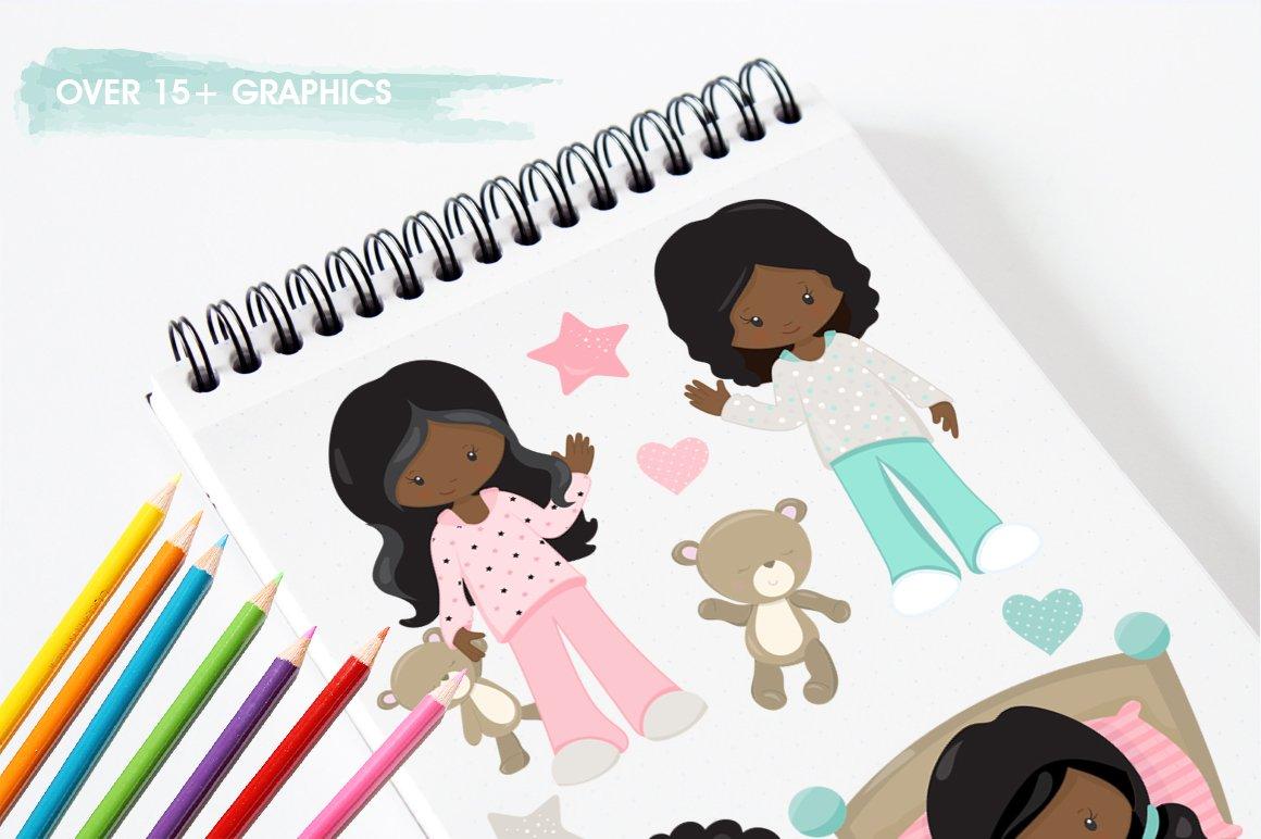 African American Kids bedtime graphics - vectors example image 5