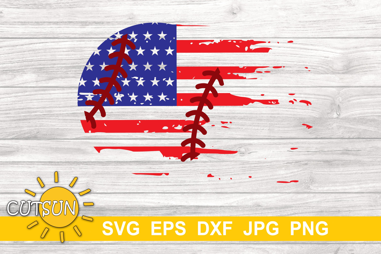 Baseball Distressed US Flag   Baseball Brushstroke SVG example image 3