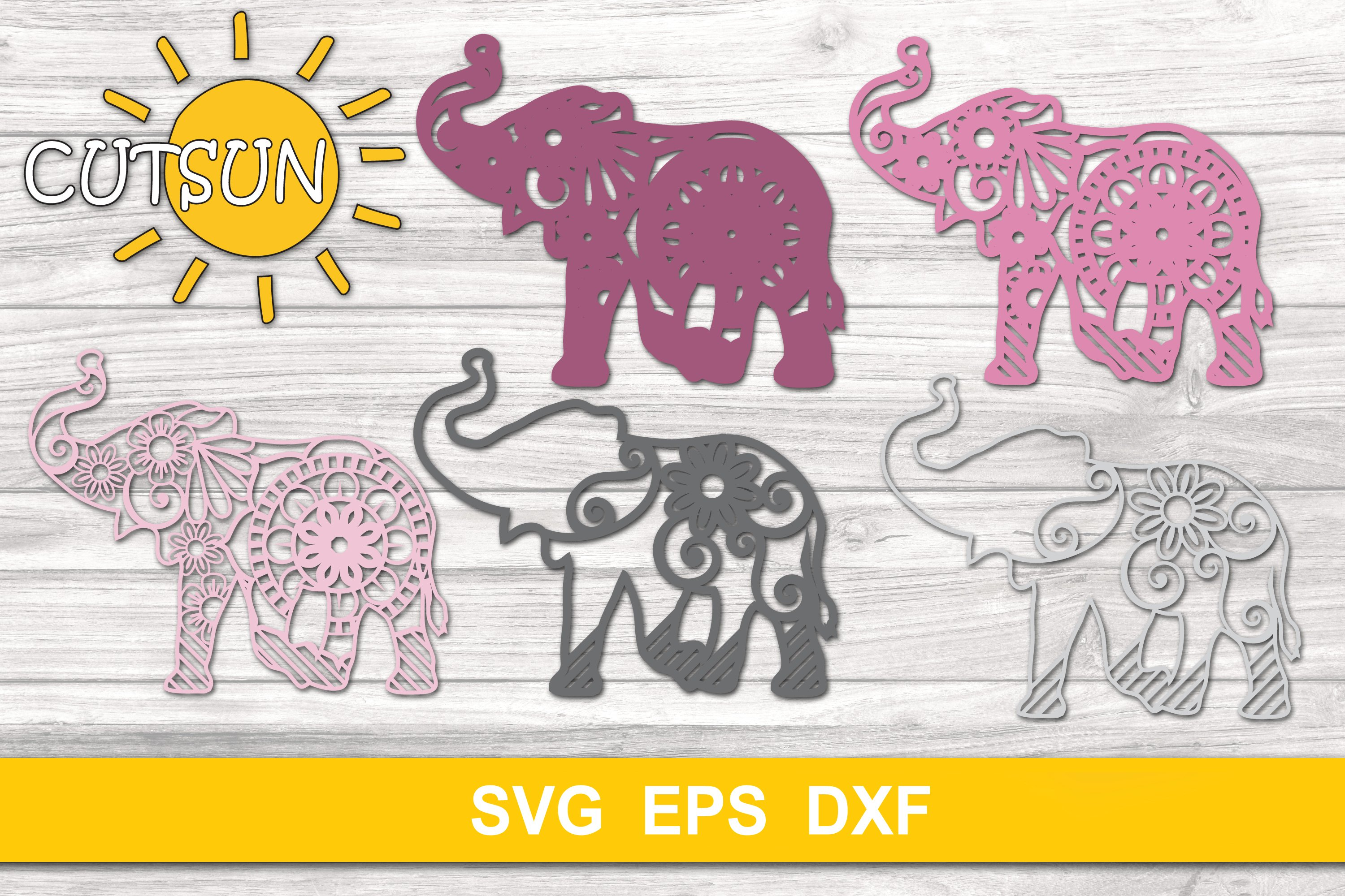 Download 3D Layered Elephant Mandala cut file for crafters 5 layers ...