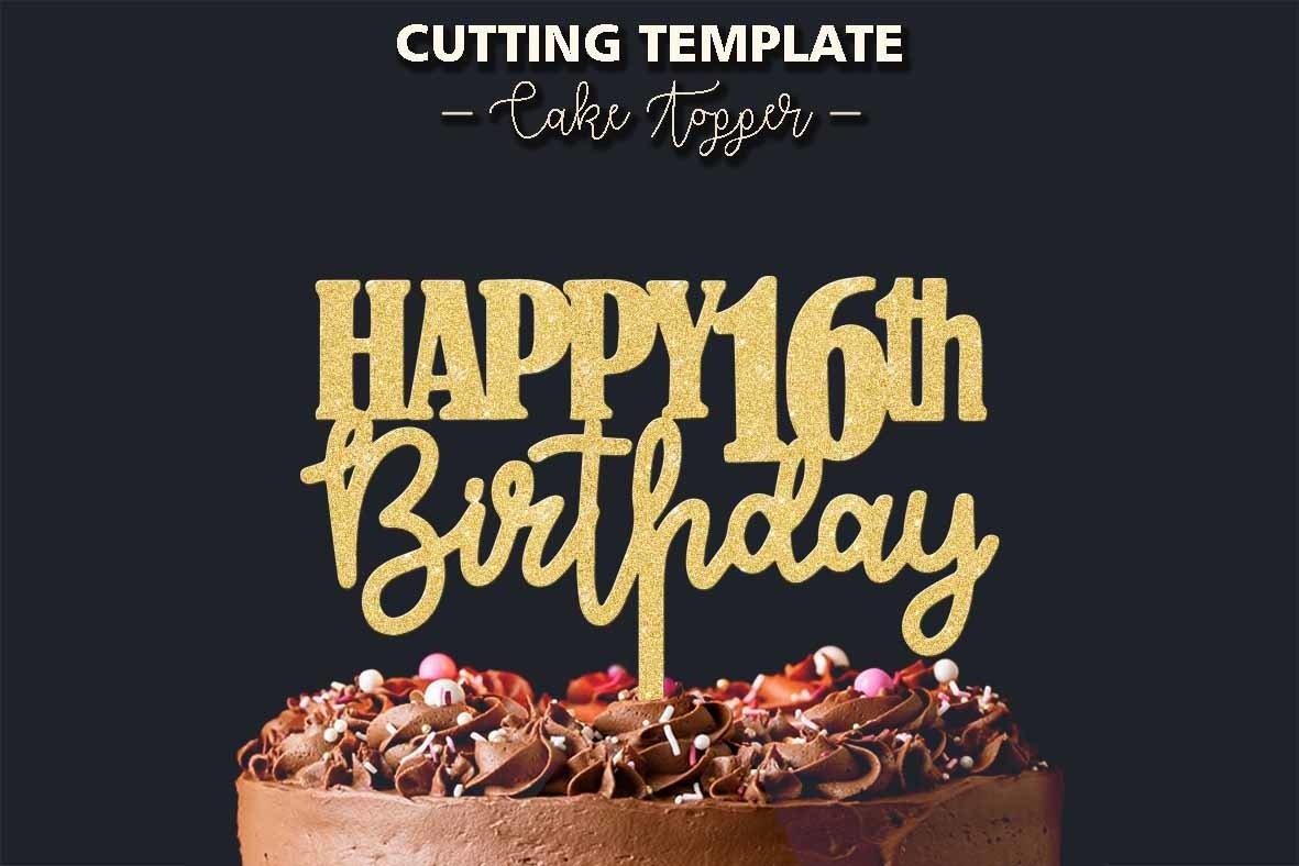 silhouette 16th cake topper 16th birthday digital file svg cutting file sweet 16 cricut Sweet 16 Cake Topper cake topper birthday