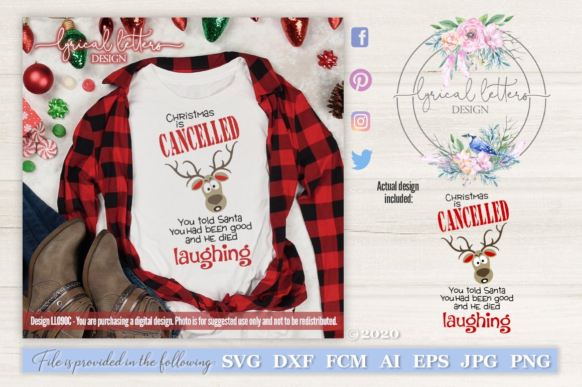 Christmas Is Cancelled Funny Reindeer Svg Ll090c 115890 Cut Files Design Bundles