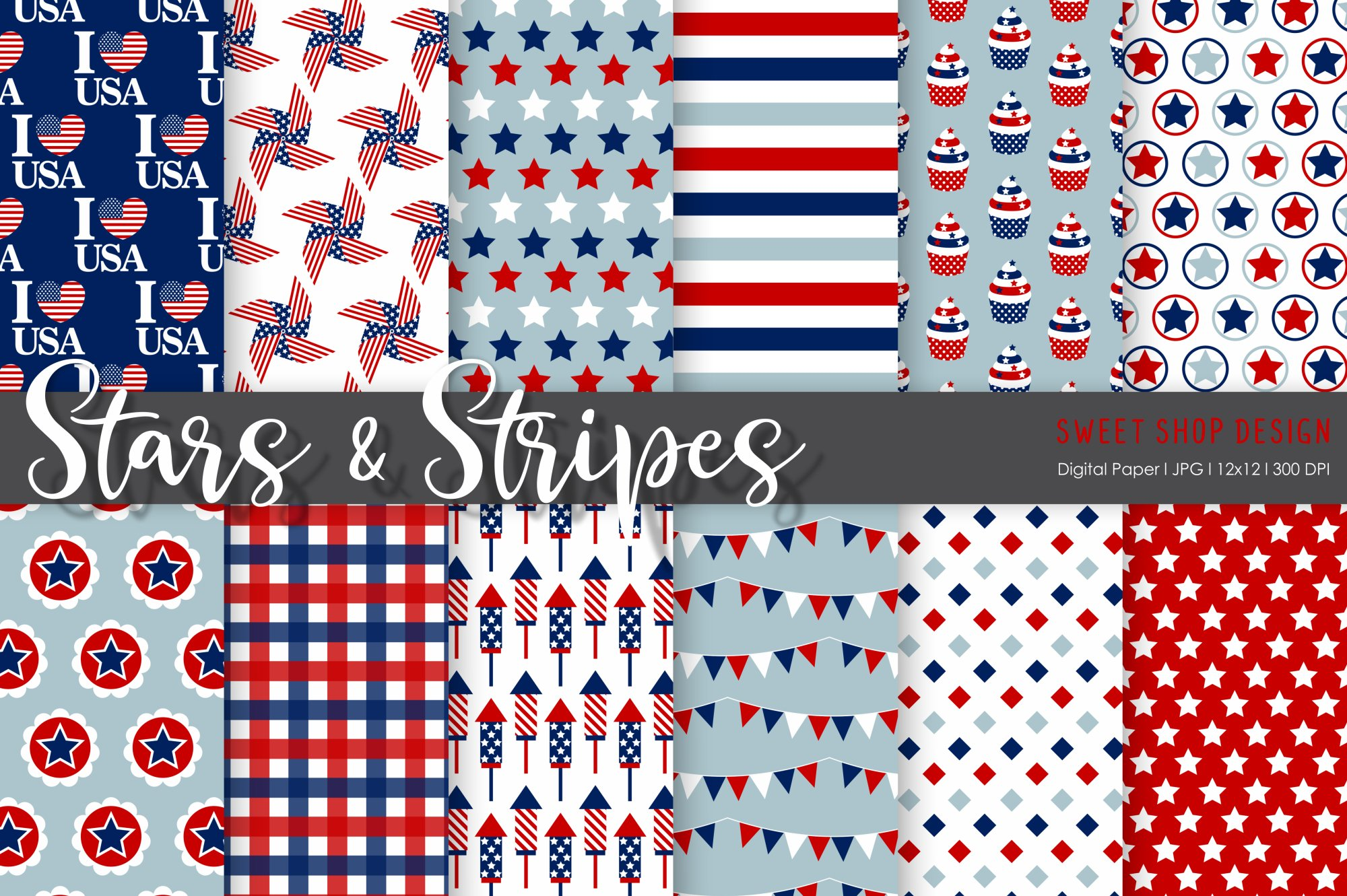 Digital Paper Stars And Stripes, 12x12, Set of 12 Papers example image 1