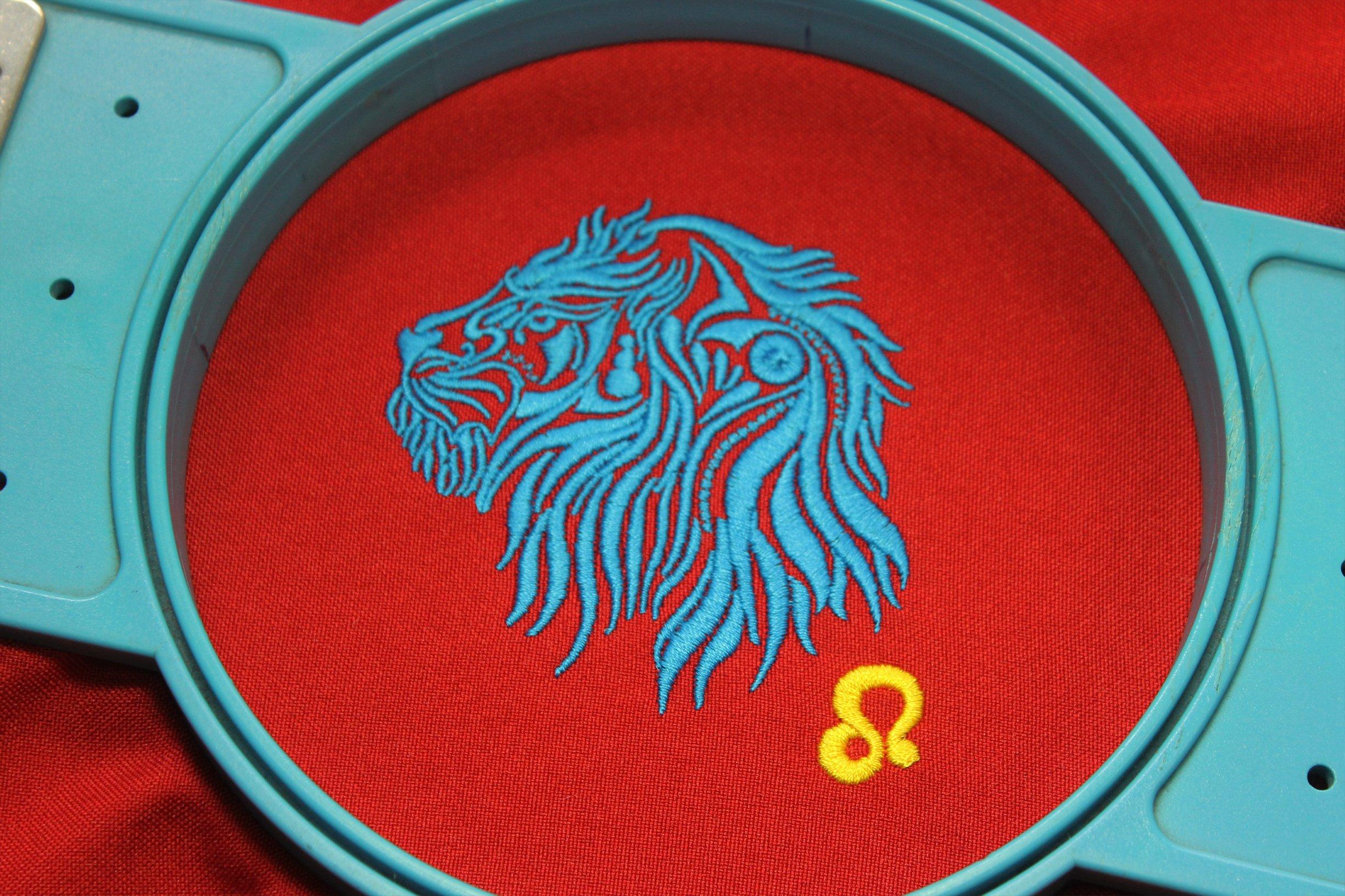 Leo Zodiac Sign - machine embroidery design, satin stitch example image 8