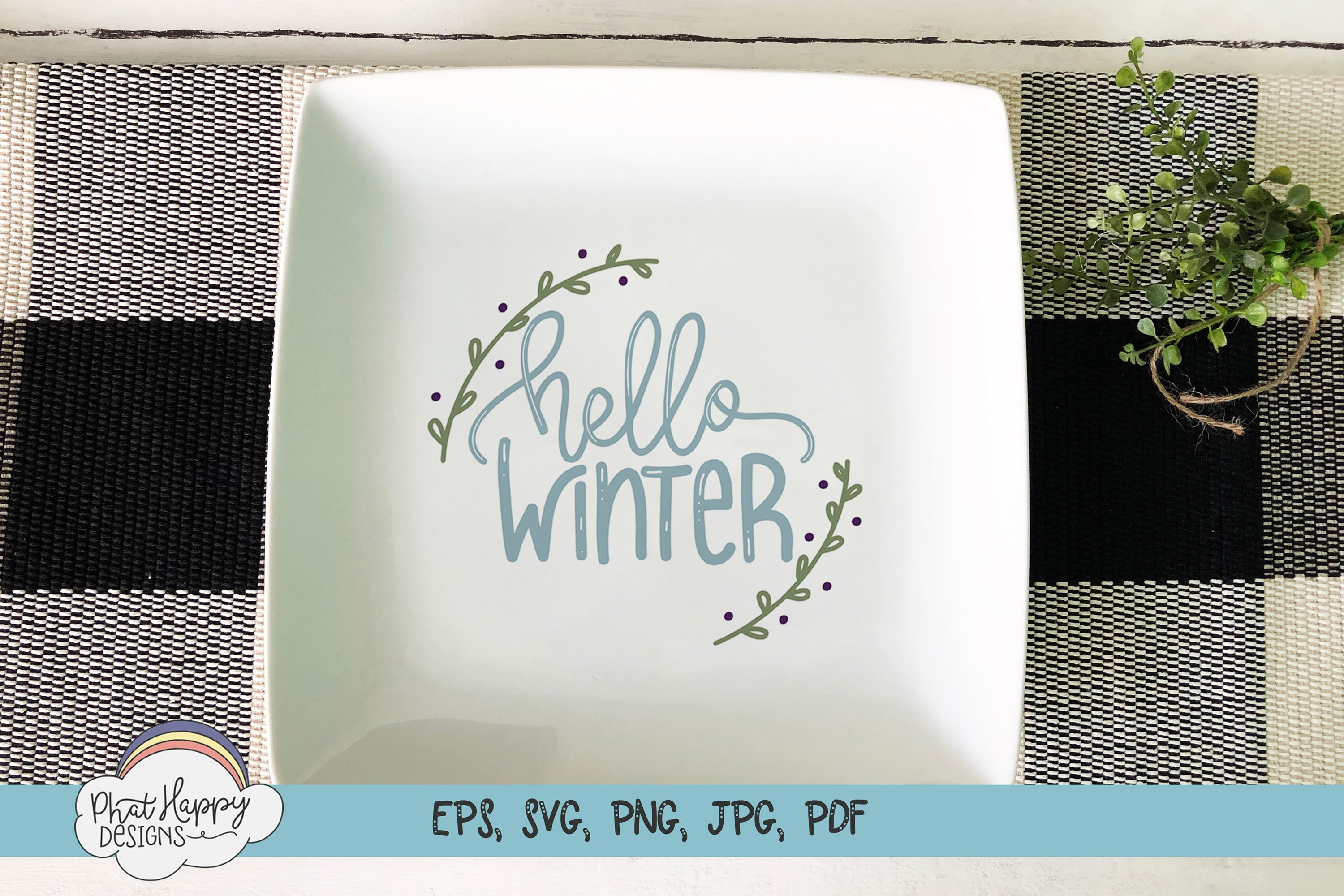 Hello Winter - Hand Lettered Christmas SVG example image 3