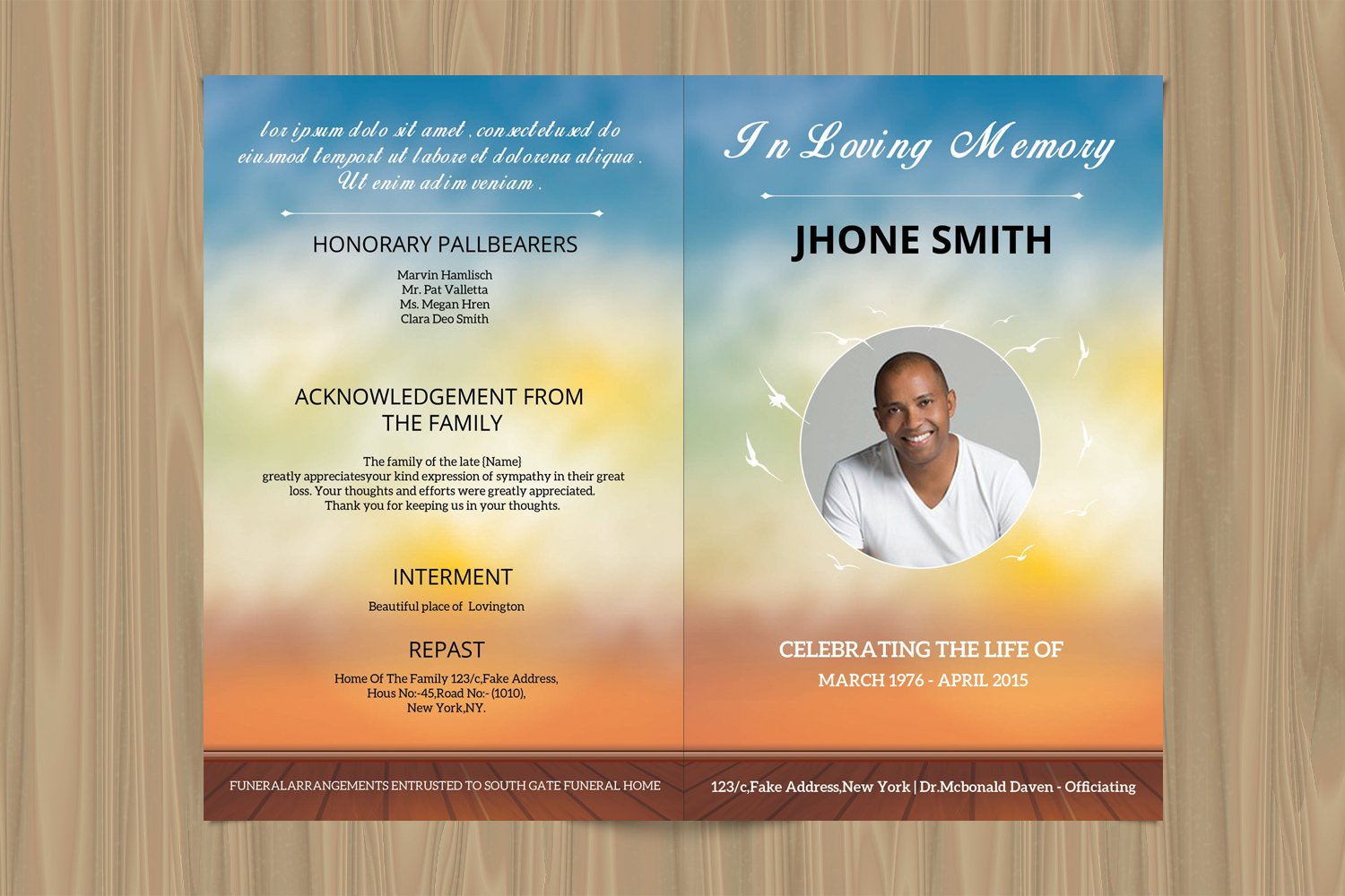 Funeral Program Template, Ms Word & Photoshop Template example image 2
