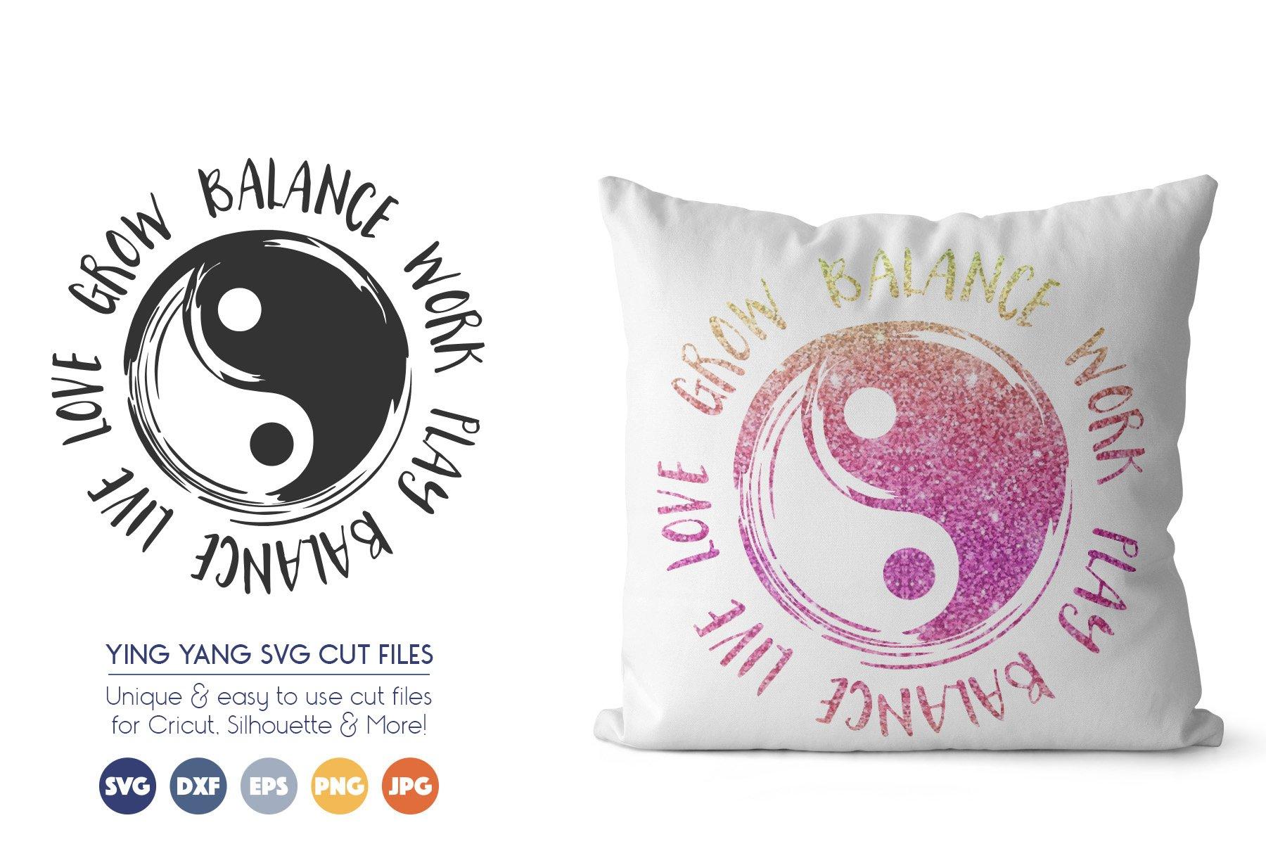 Yin Yang SVG File - Grow, Balance, Work, Play, Balance, Live example image 1