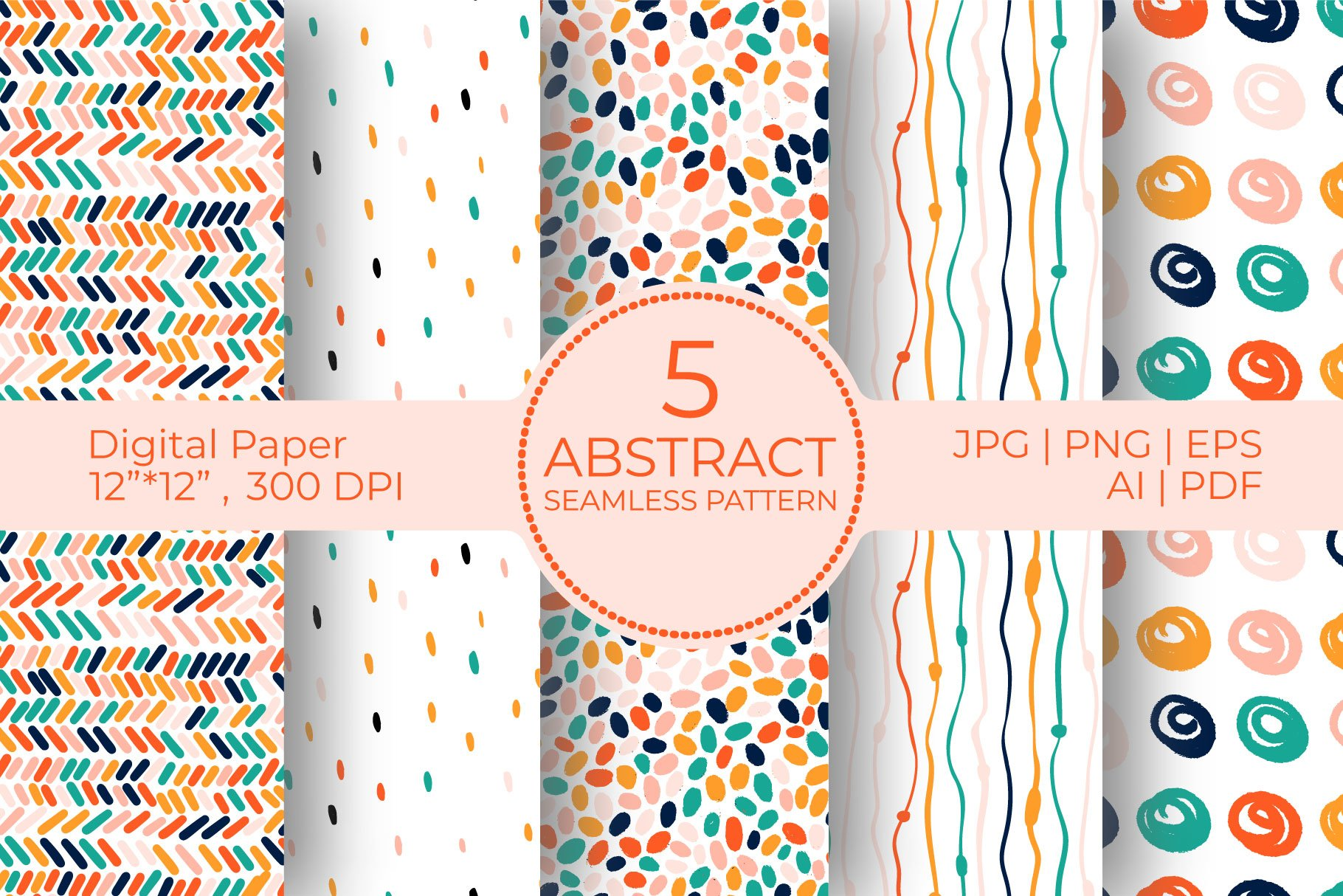 Abstract bright Digital Paper Bundle,doodle seamless pattern example image 1