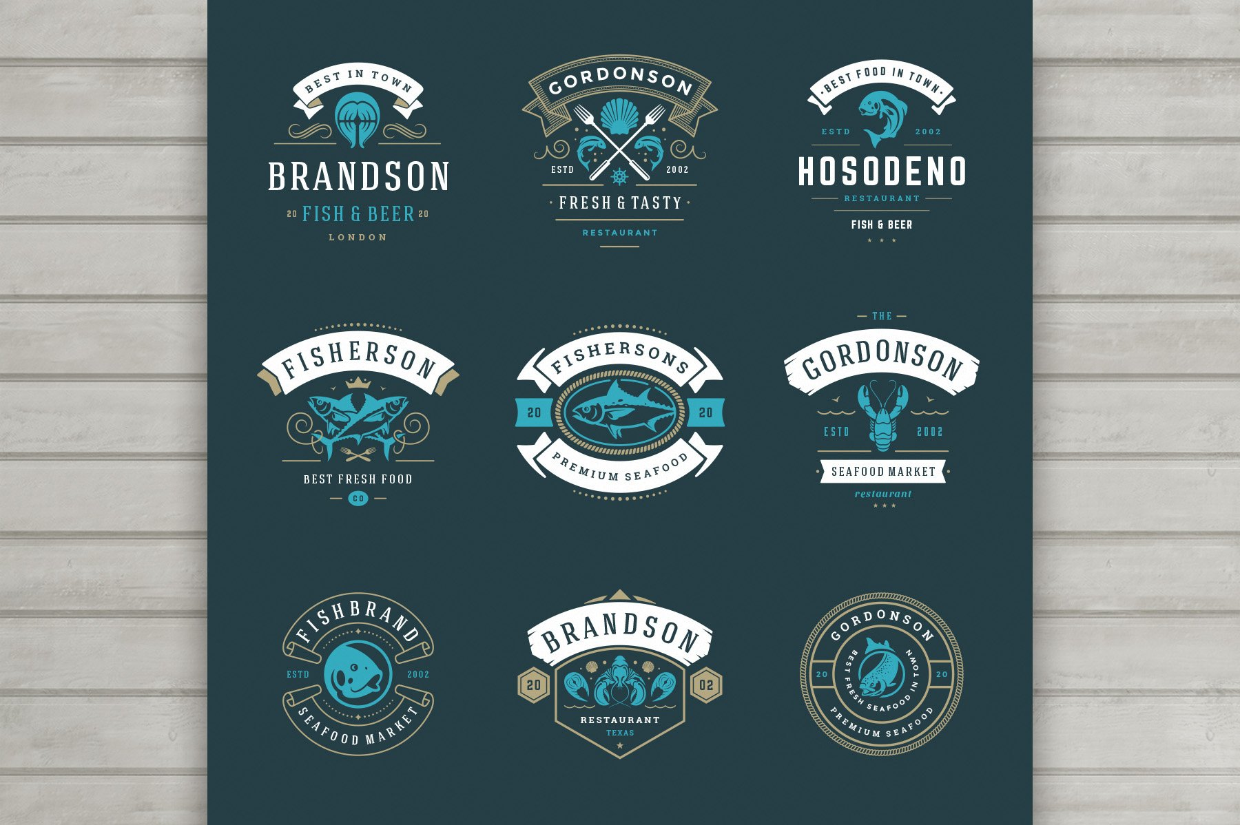18 Seafood Logos & Badges example image 5