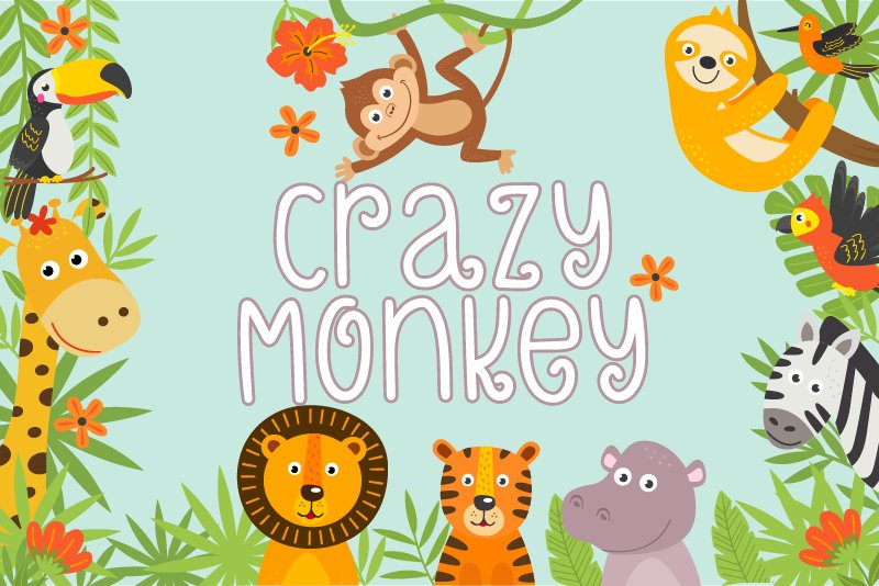 Crazy Monkey Curly Font | LoveSVG example image 1