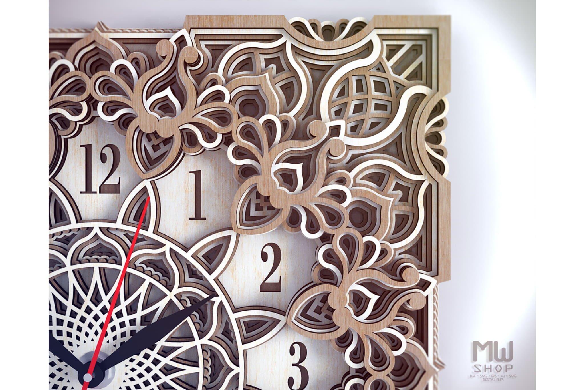 C13 - Mandala Clock DXF for Laser cut, Sacred Clock SVG example image 7