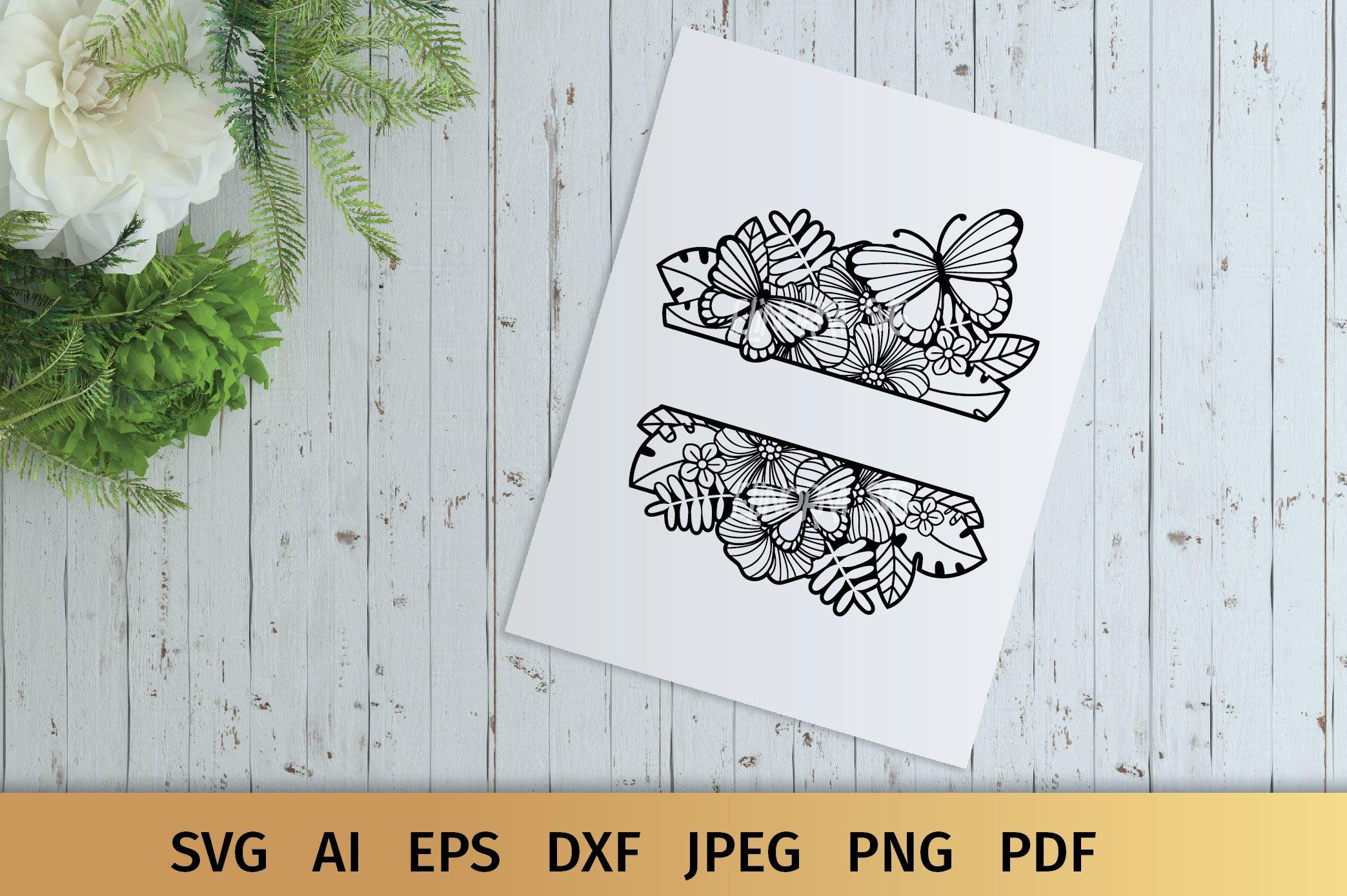 Split Monogram SVG | Floral SVG | Butterfly SVG | Summer SVG example image 9