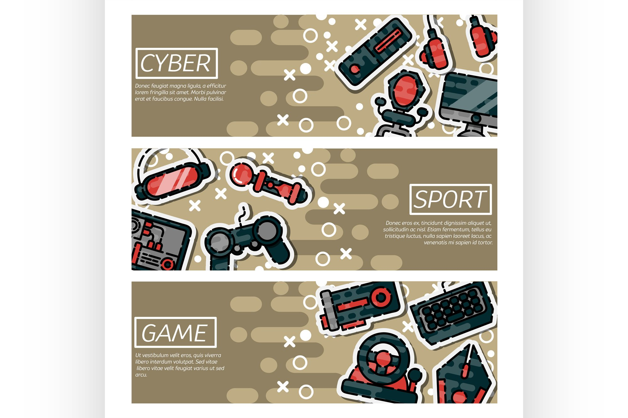Set of Horizontal Banners about cybersport example image 1