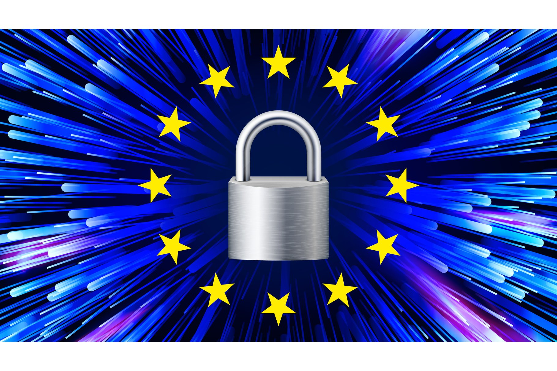 GDPR Background Vector. Padlock. Stars. Security Web Banner. example image 1