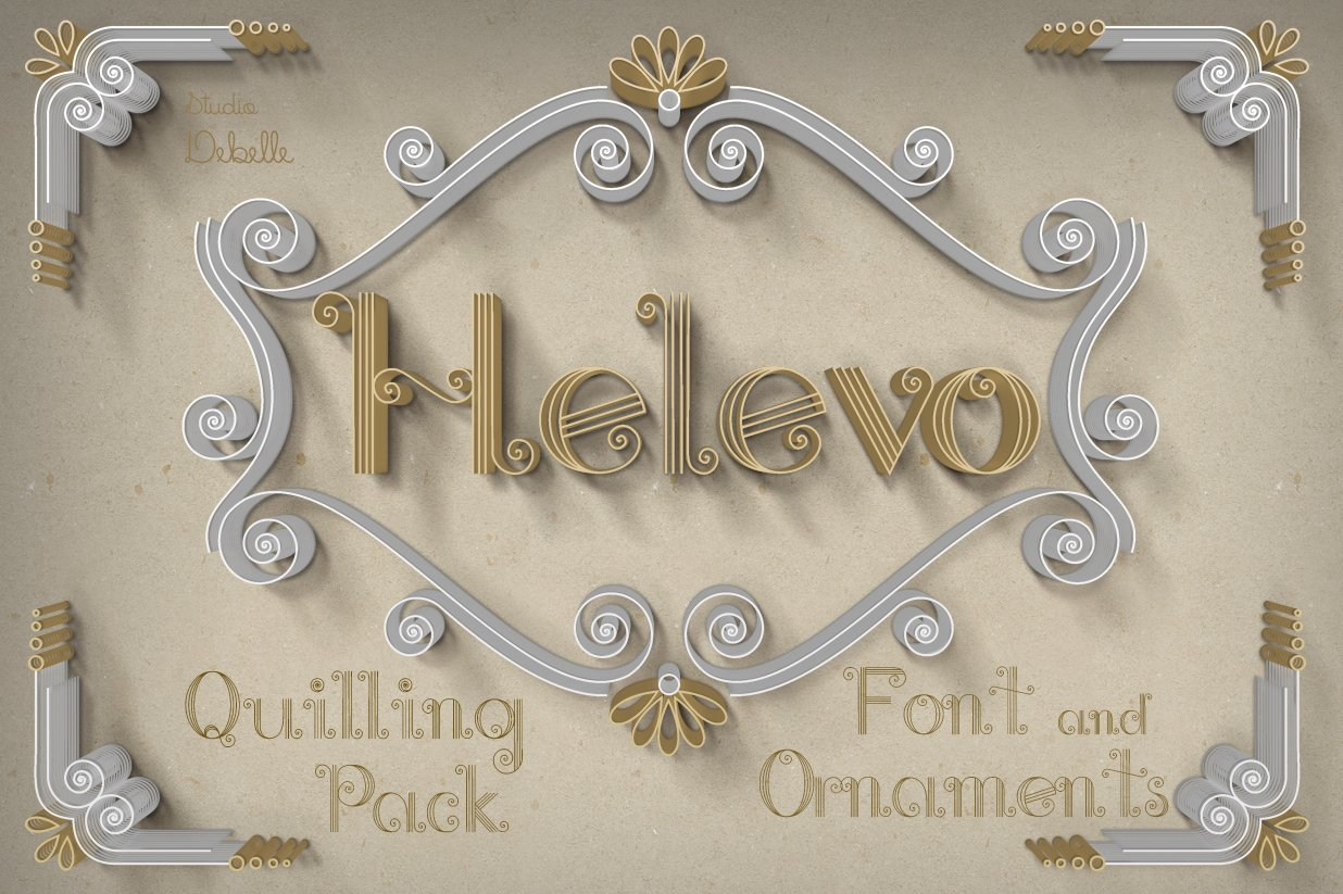Helevo - Font and Ornaments - Quilling Pack example image 1
